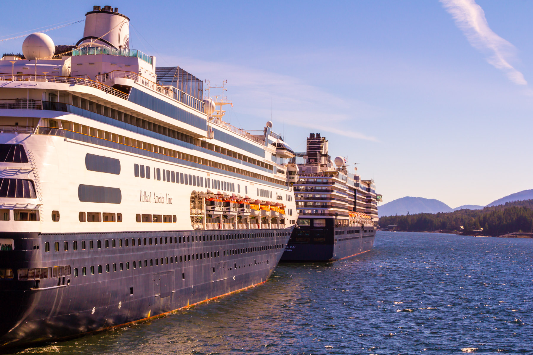 The Holland America Lines cruise ships MS Zaandam and MS Oosterdam, docked in Ketchikan, Alaska.
