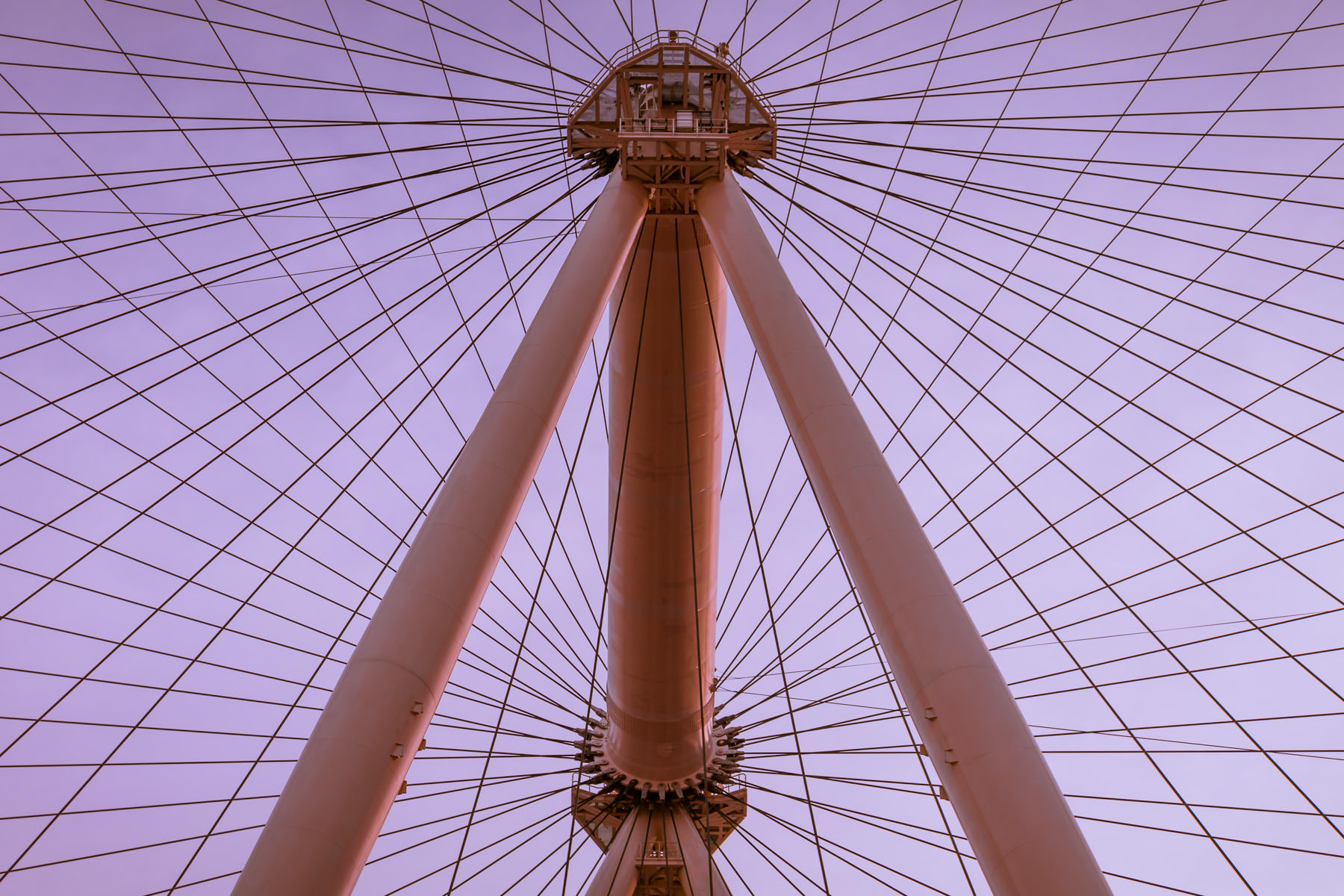 Detail of the support structure and cables of Las Vegas' High Roller observation wheel.