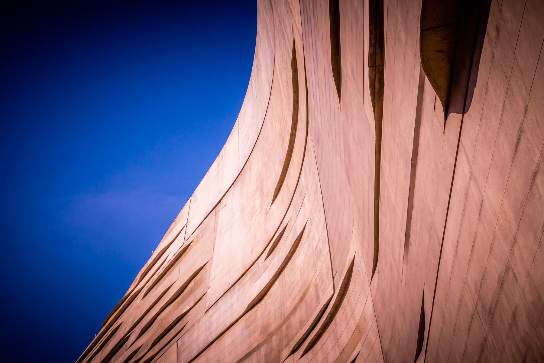 Abstract architectural detail of Dallas' Perot Museum of Nature and Science.