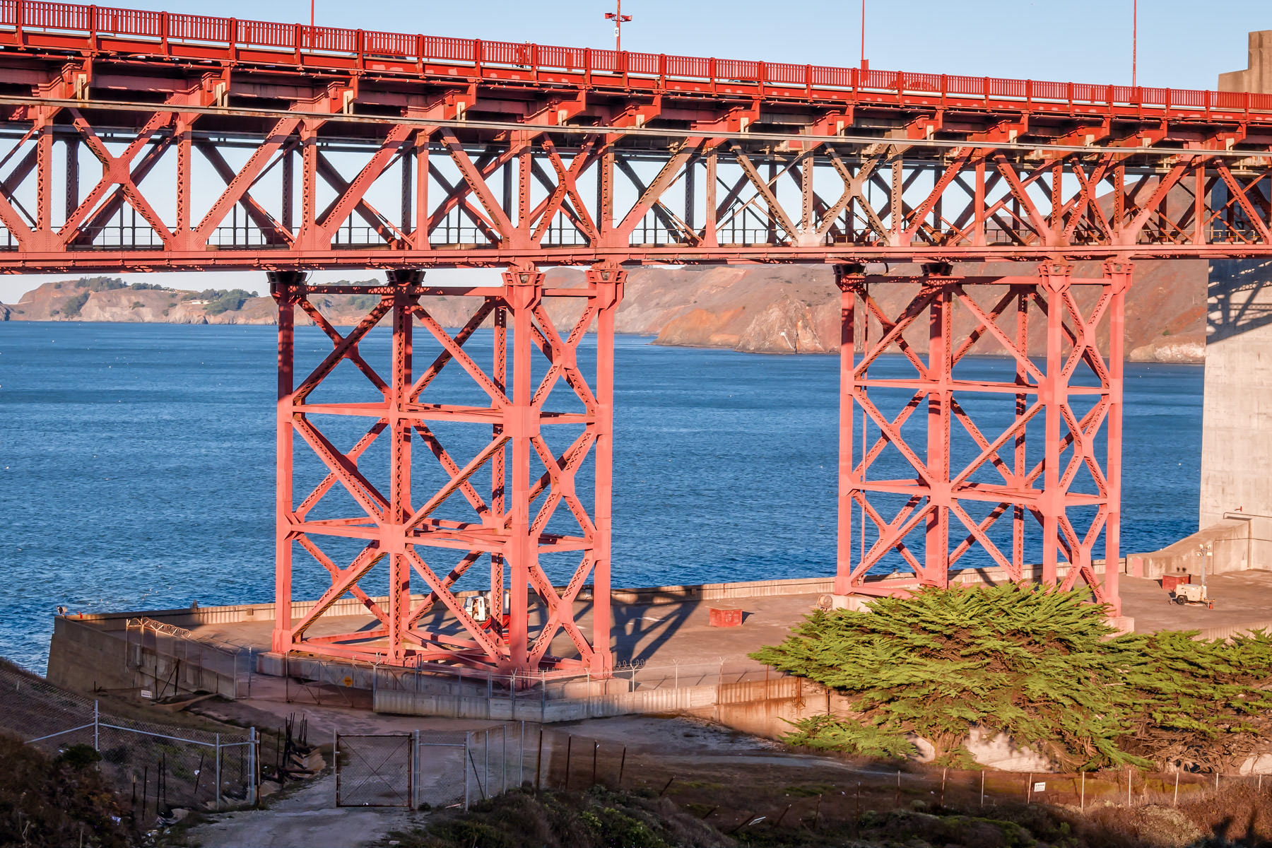 A detailed look at the massive support structures of the San Francisco Approach Viaduct on the southern end of the Golden Gate Bridge.