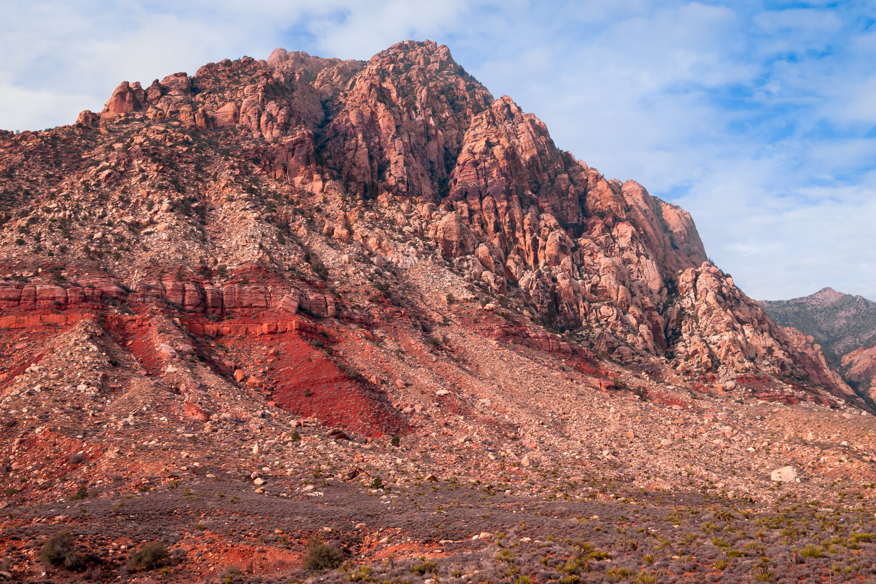 A rocky pinnacle rises into the sky in the Spring Mountains outside of Las Vegas.