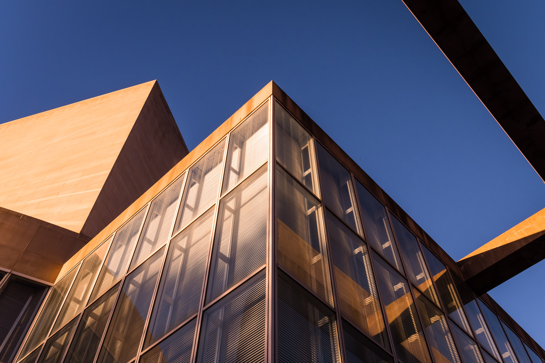 Evening sunlight illuminates the Meyerson Symphony Center in the Dallas Arts District.