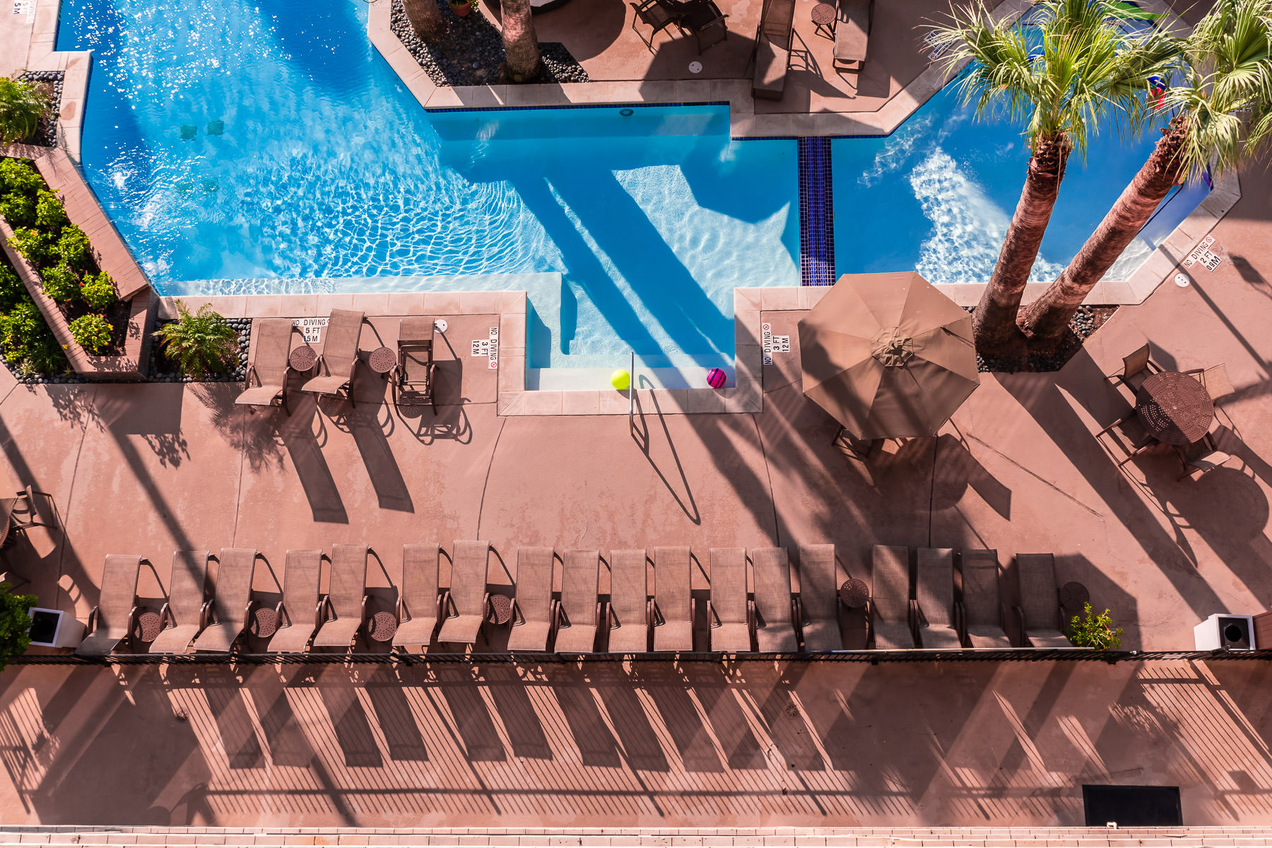 An aerial view of the pool at the Holiday Inn Resort in Galveston, Texas.