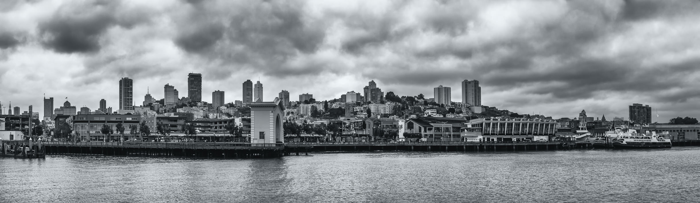 A panoramic view of San Francisco's Russian Hill area as rain clouds settle over the city.