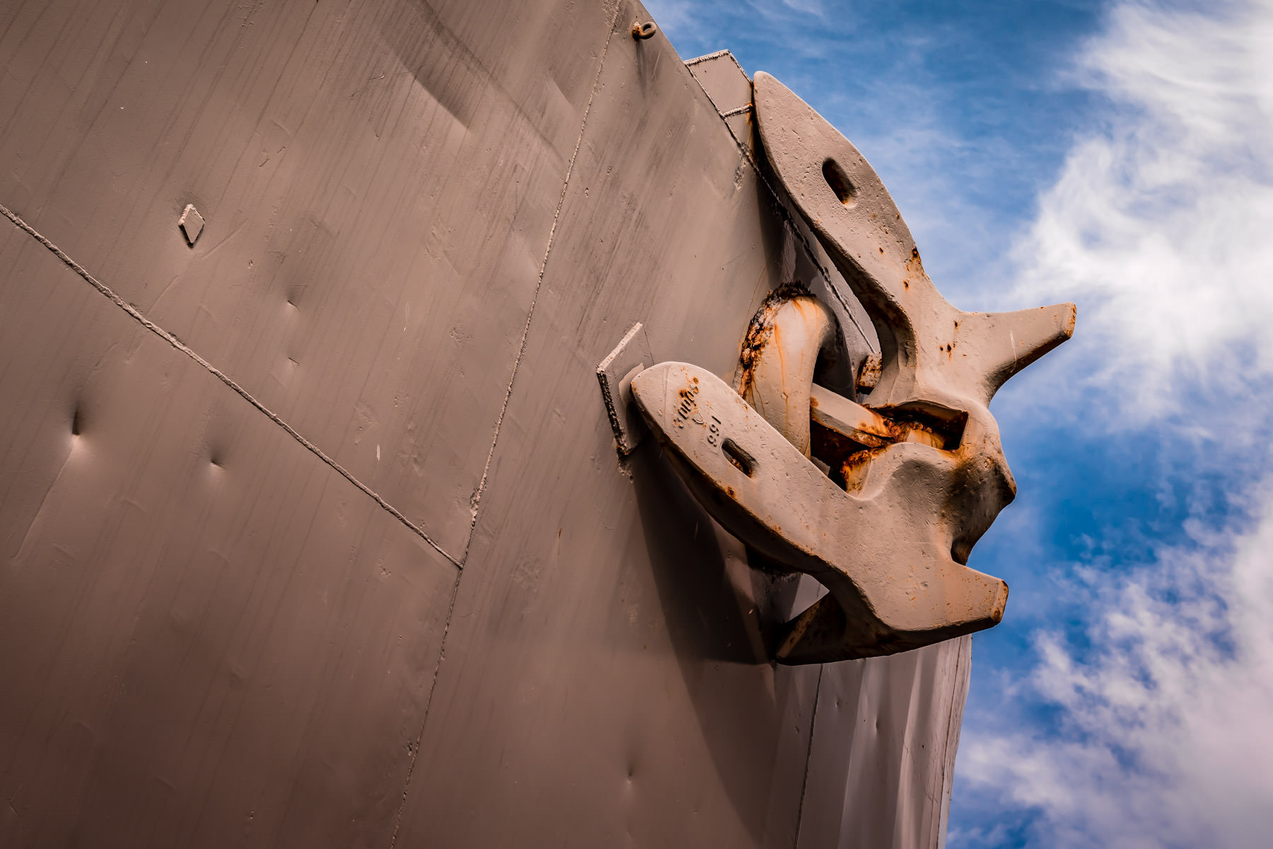 The starboard anchor of the Edsall-class destroyer escort USS Stewart, at Seawolf Park, Galveston, Texas.