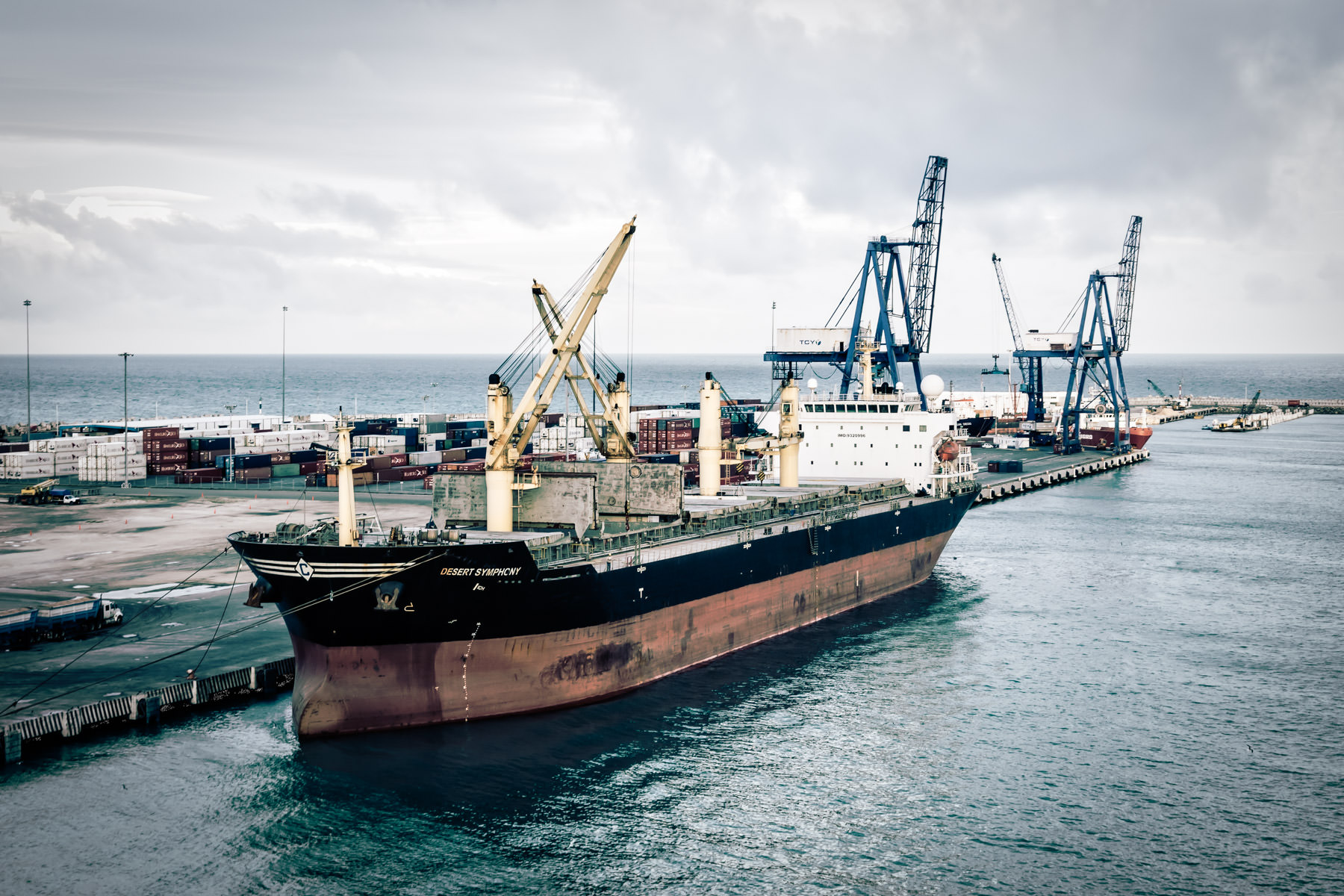 The bulk carrier Desert Symphony, docked at the Terminal Remota—the cargo terminal for the Port of Progreso, Mexico