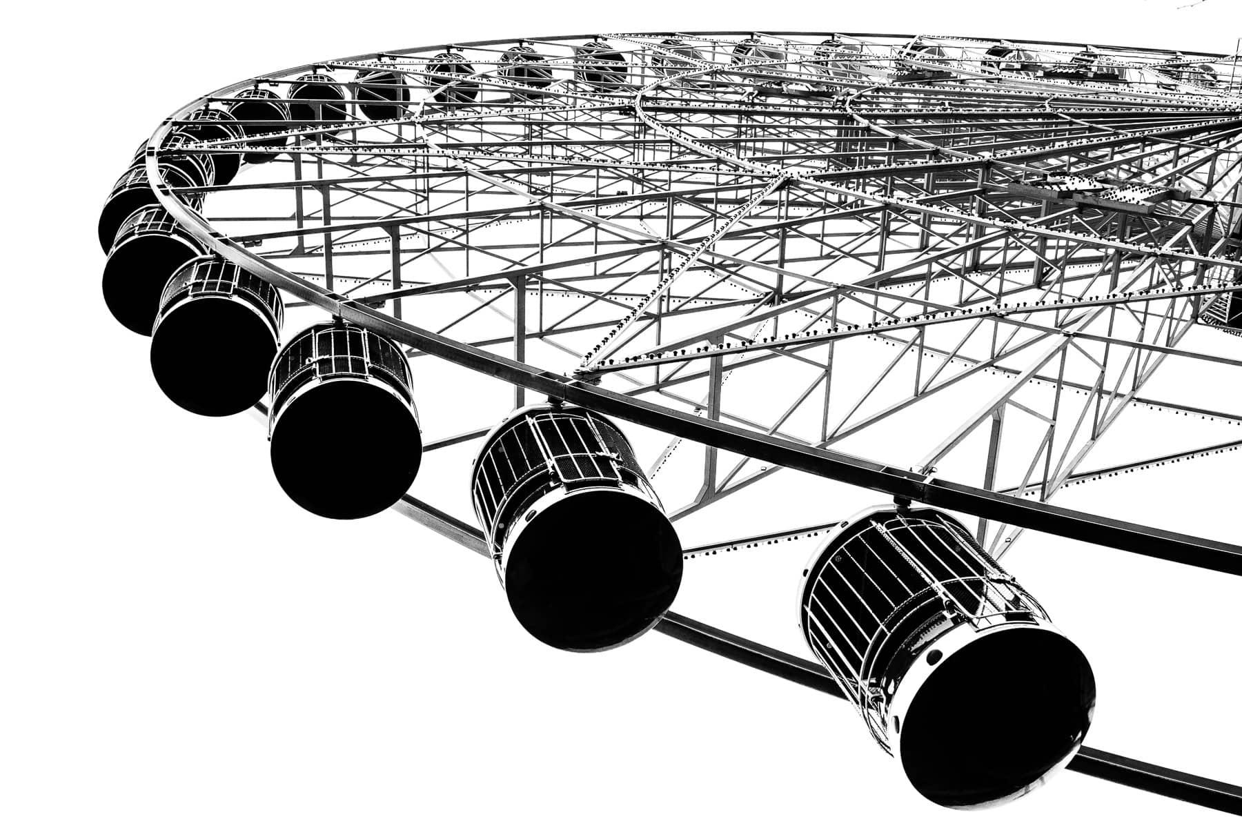 Gondolas hang from the Texas Star Ferris Wheel at Dallas' Fair Park.