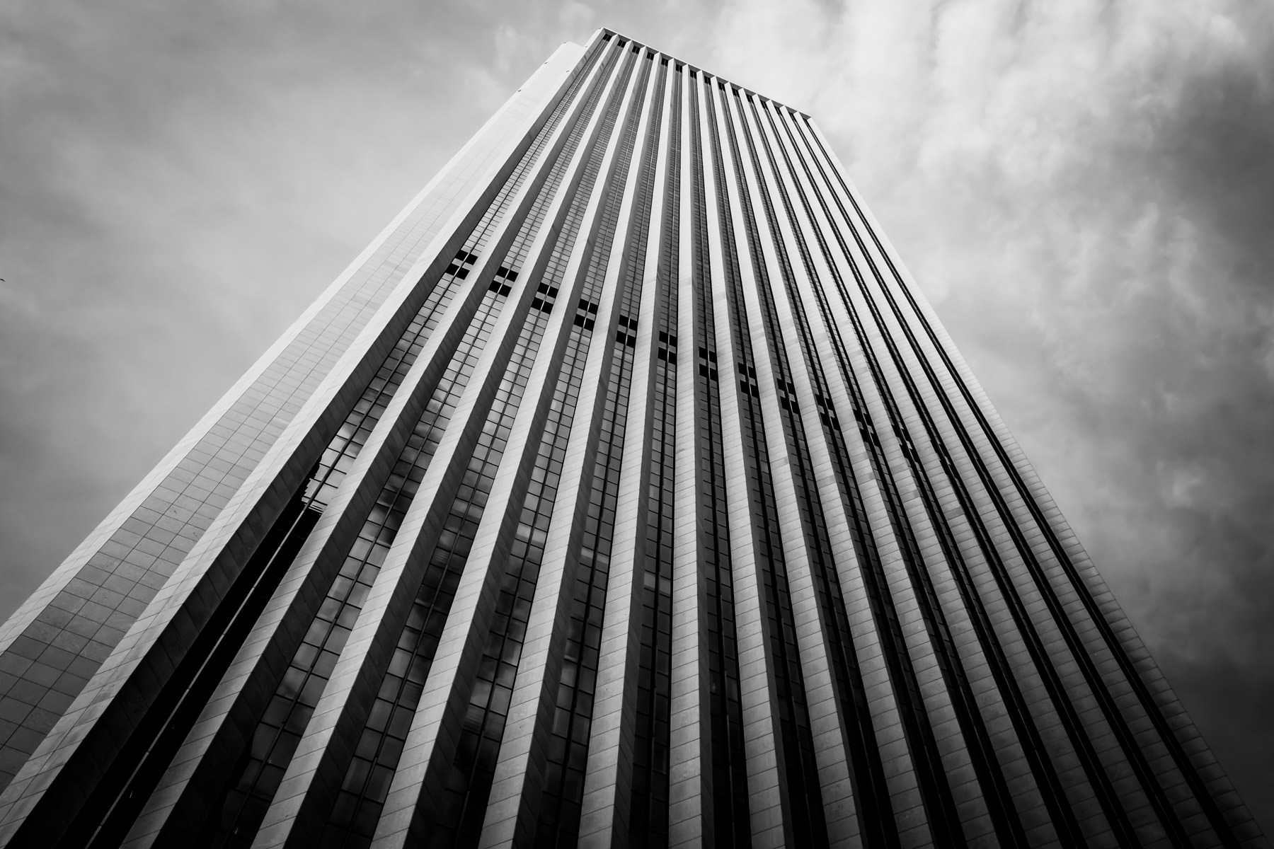 Chicago's third-tallest skyscraper, the 83-story Aon Center, rises into the sky.