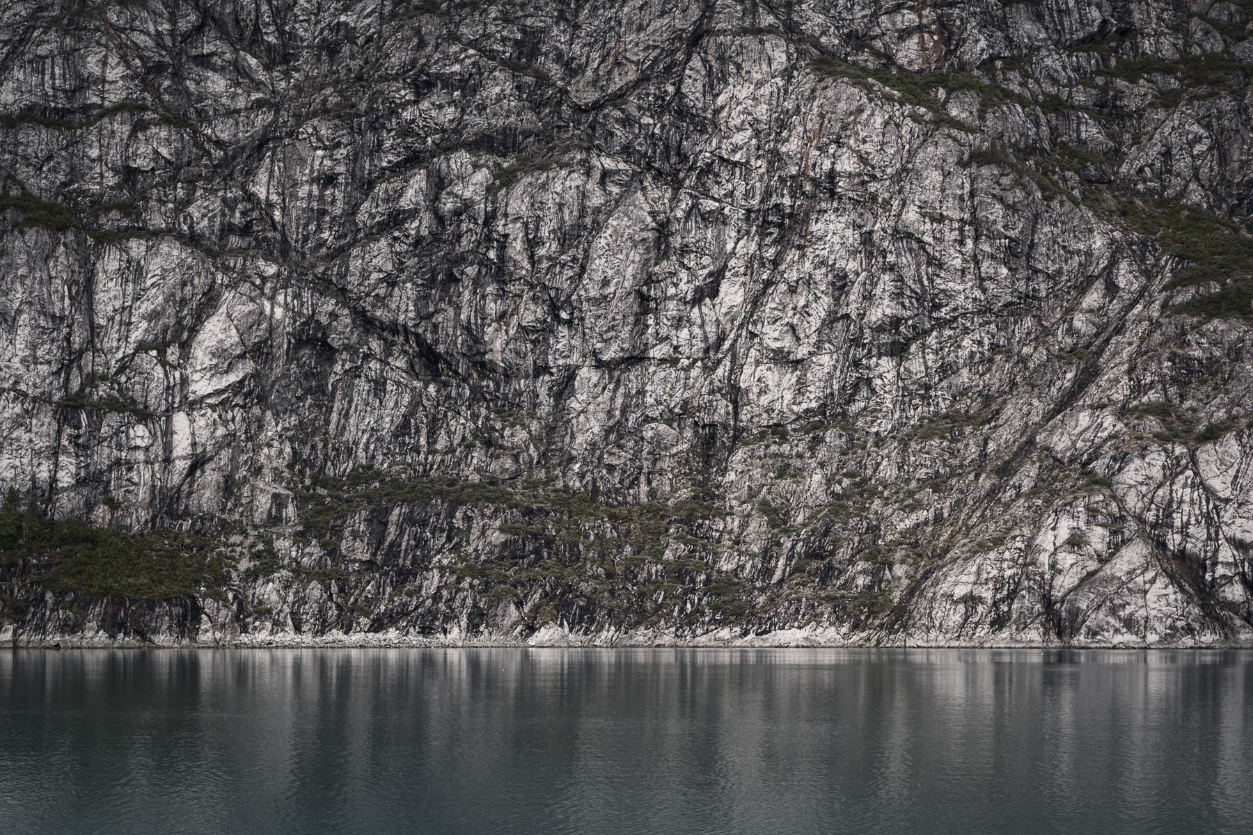A sheer rock wall rises from the surface of Alaska's Glacier Bay.