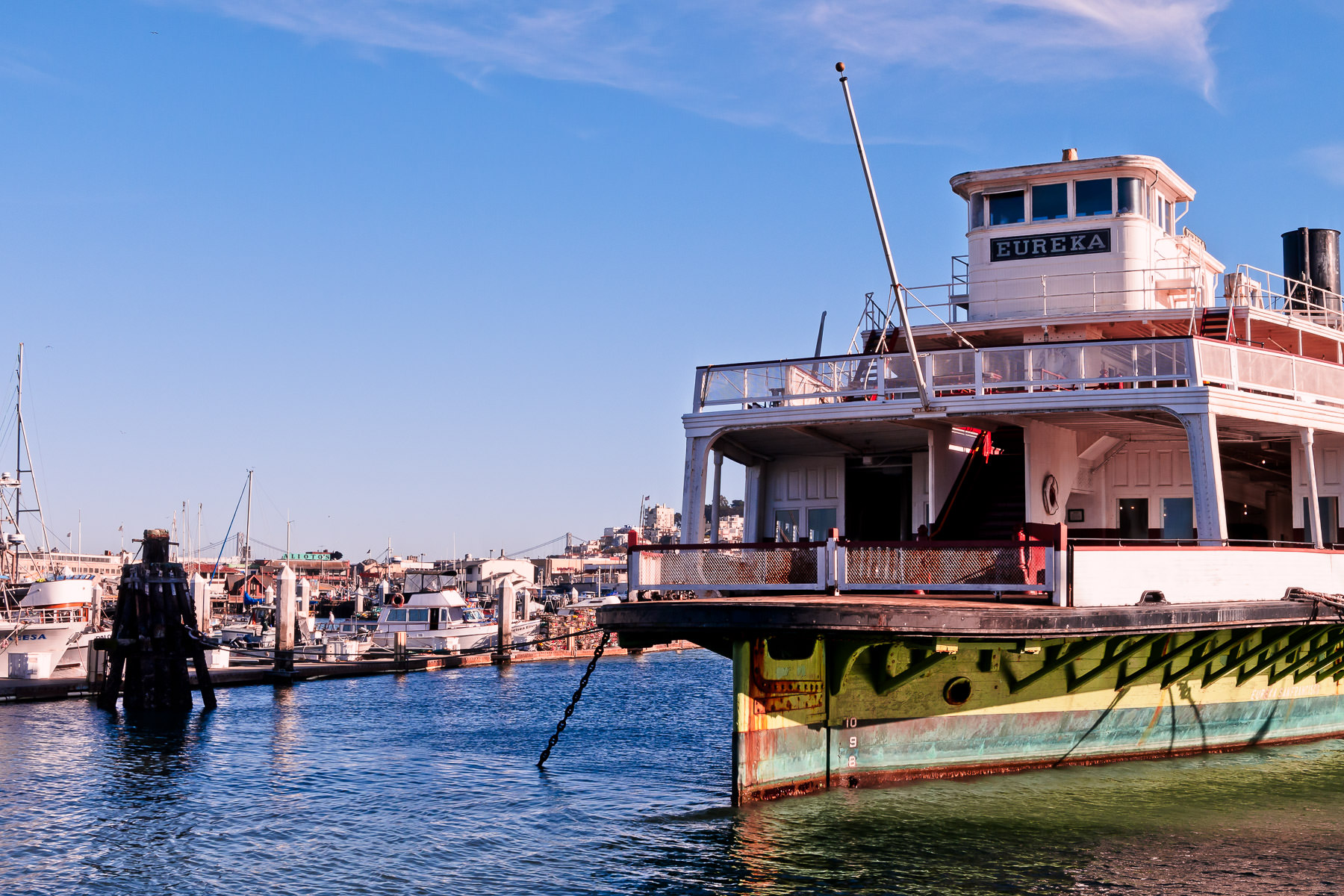 The 1890 side-wheel paddle steamboat Eureka, which originally carried passengers and railcars between Tiburon and San Francisco and now resides in that city's San Francisco Maritime National Historical Park.
