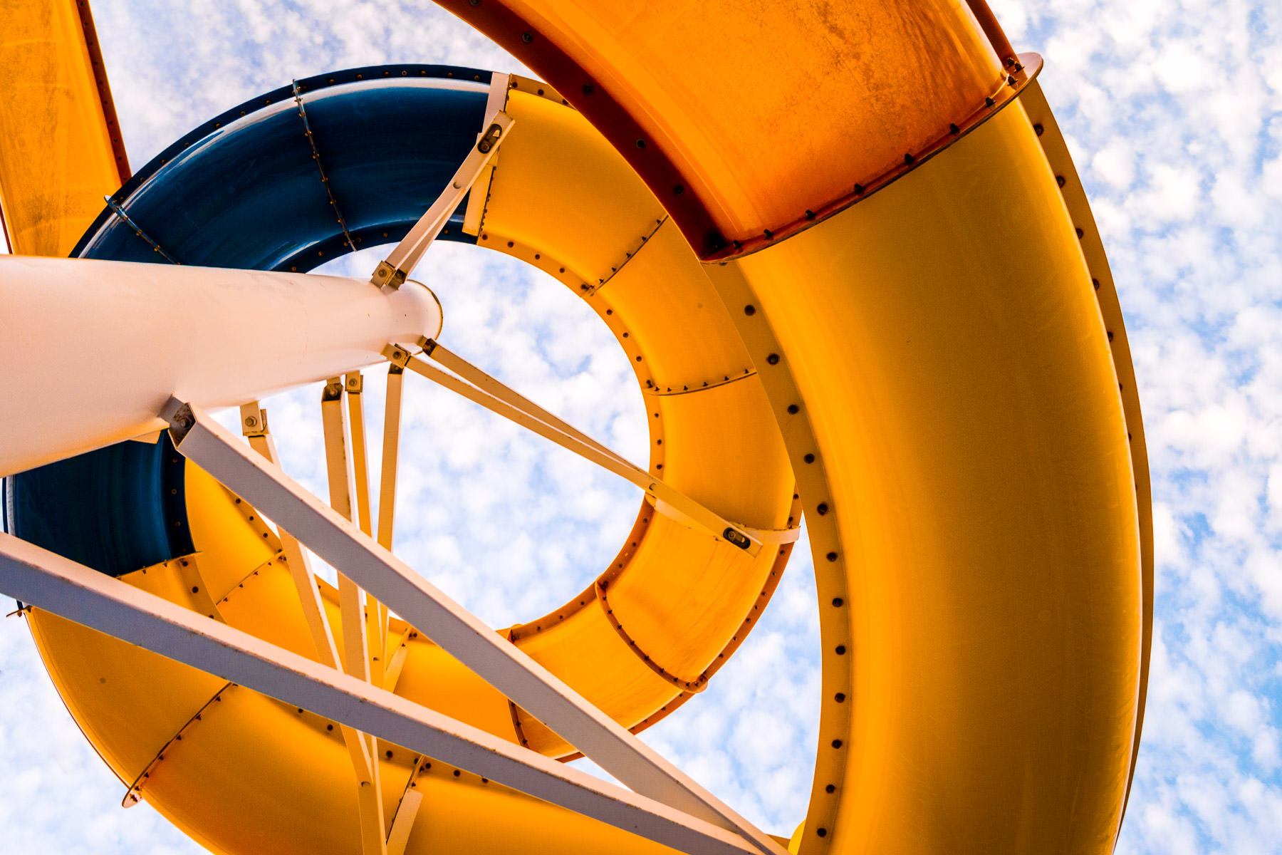 Abstract detail of one of the water slides aboard the cruise ship Carnival Magic.