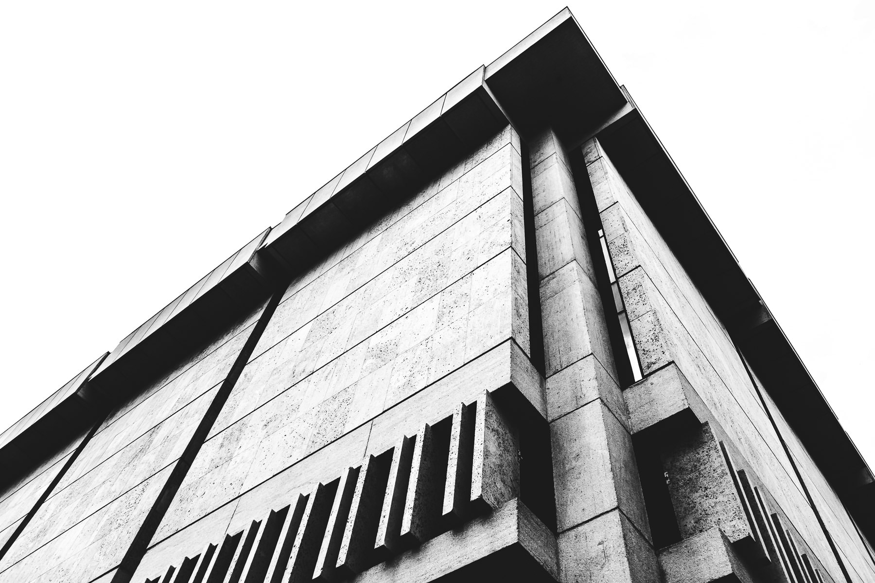 Architectural detail of the concrete exterior of the University of Texas' Harry Ransom Center, Austin, Texas.