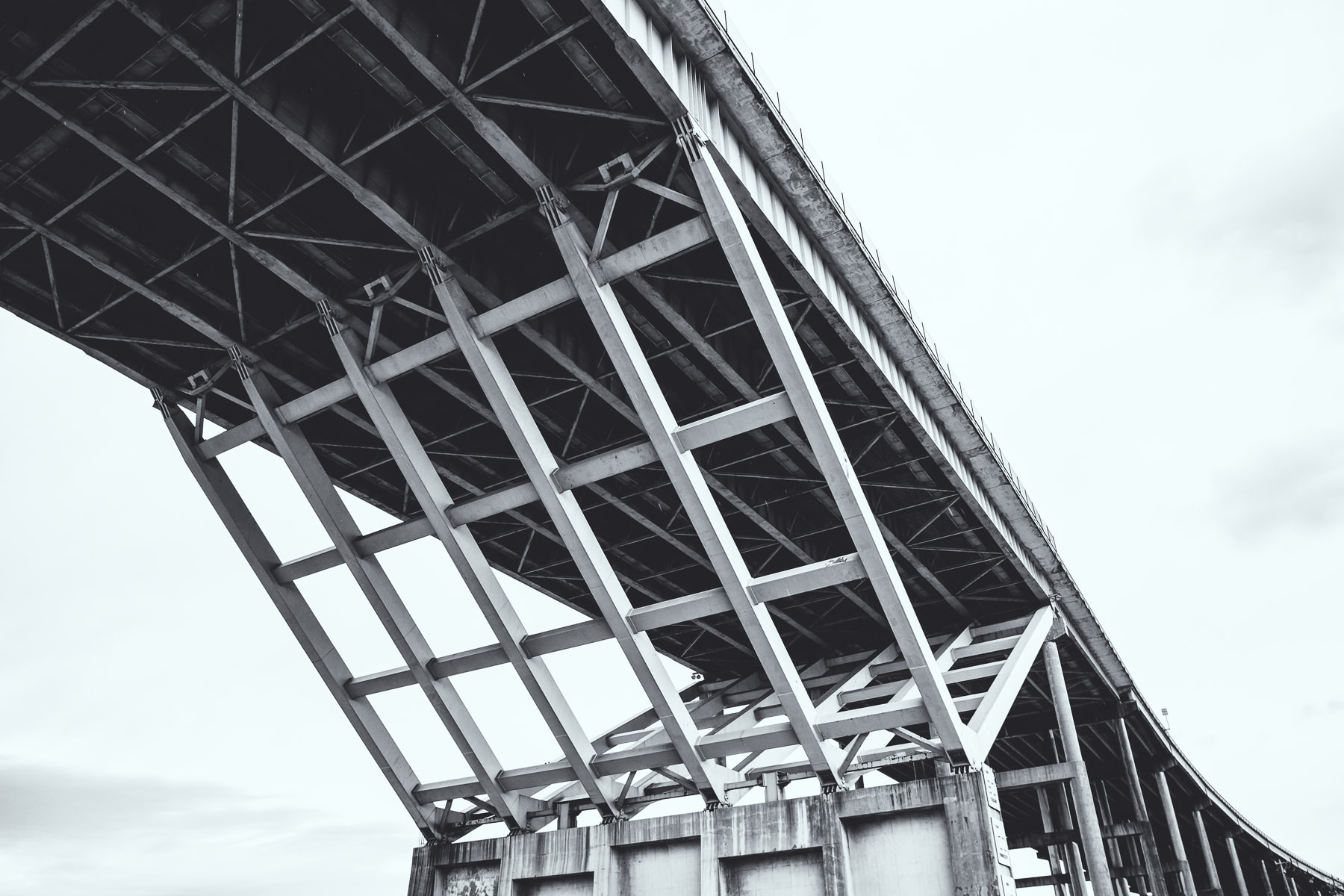 Structural detail of the underside of the 135-foot-tall, 152-foot-wide Sidney Sherman Bridge, which carries Interstate 610 over the Houston Ship Channel.