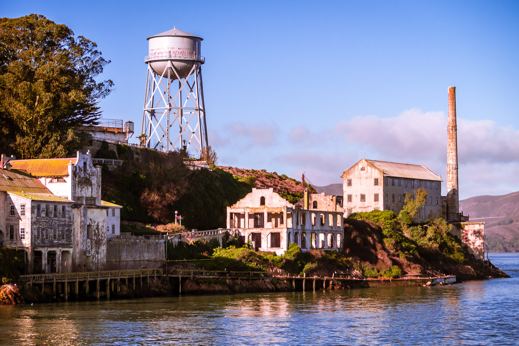 The ruins of Alcatraz Federal Penitentiary rise from San Francisco Bay.