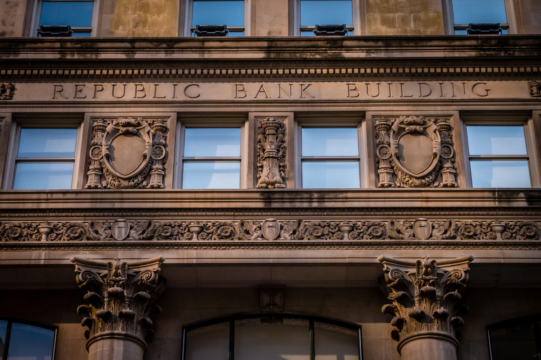 Architectural detail of the facade of the 1926 Republic Bank Building—now known as the Davis Building—in Downtown Dallas.