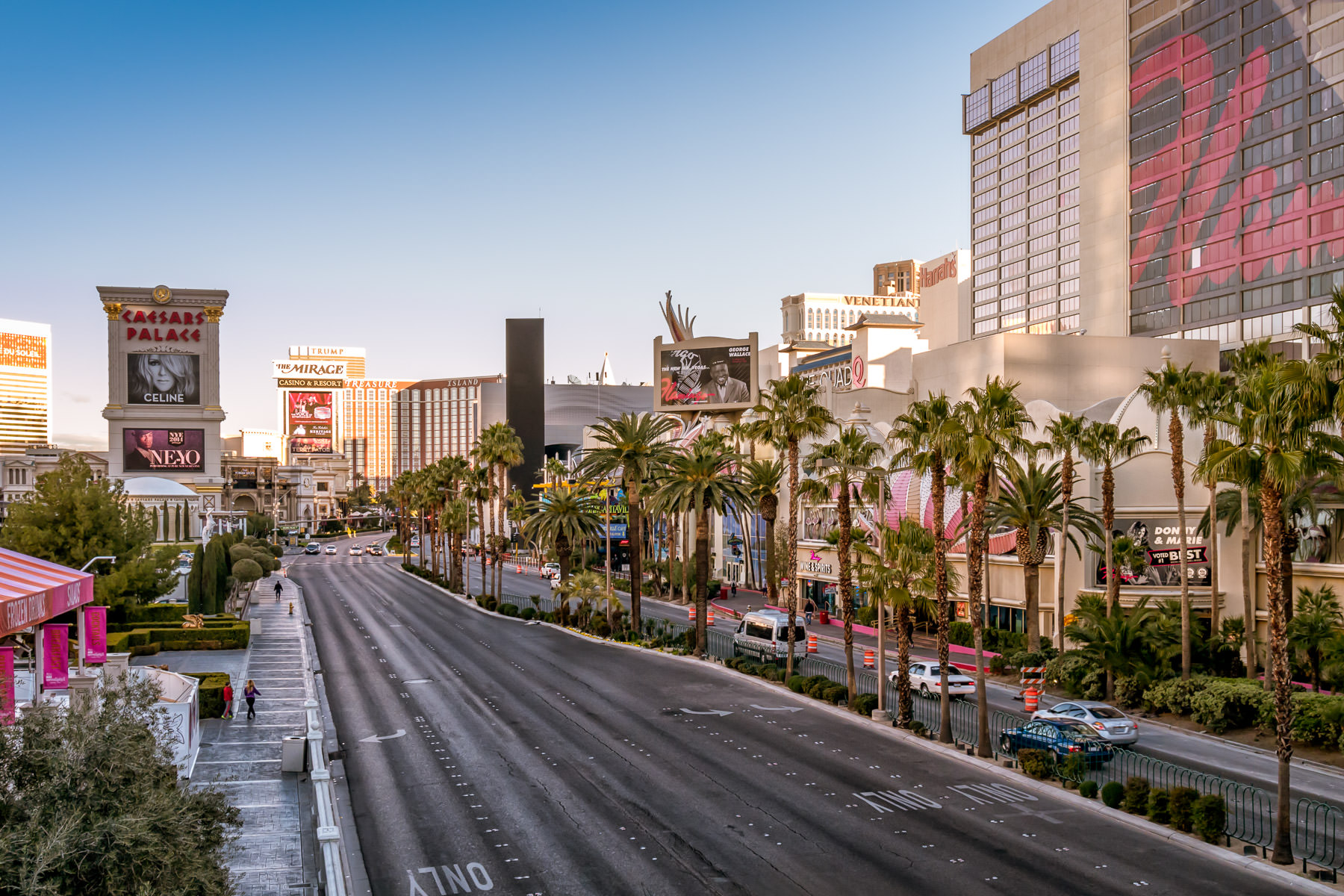 The Strip begins to come to life as the sun rises on Las Vegas.