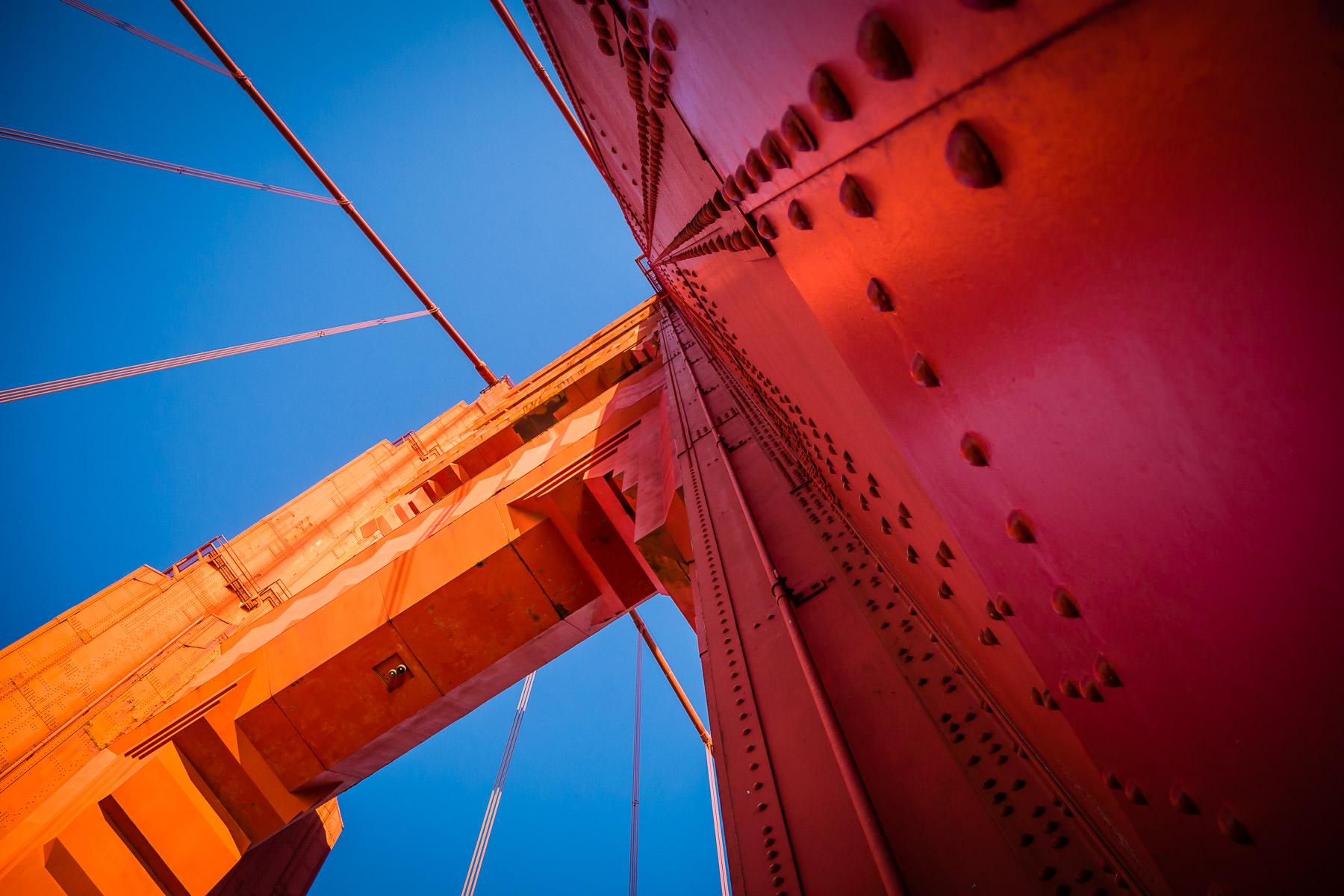 The 746-foot-tall (220 meters) south tower of San Francisco's iconic Golden Gate Bridge rises into the sky.