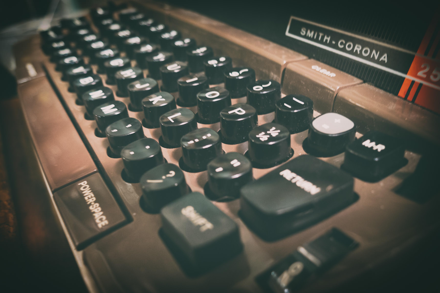 Detail of an antique Smith-Corona Model 250 electric typewriter, found in a Nacogdoches, Texas antique shop.