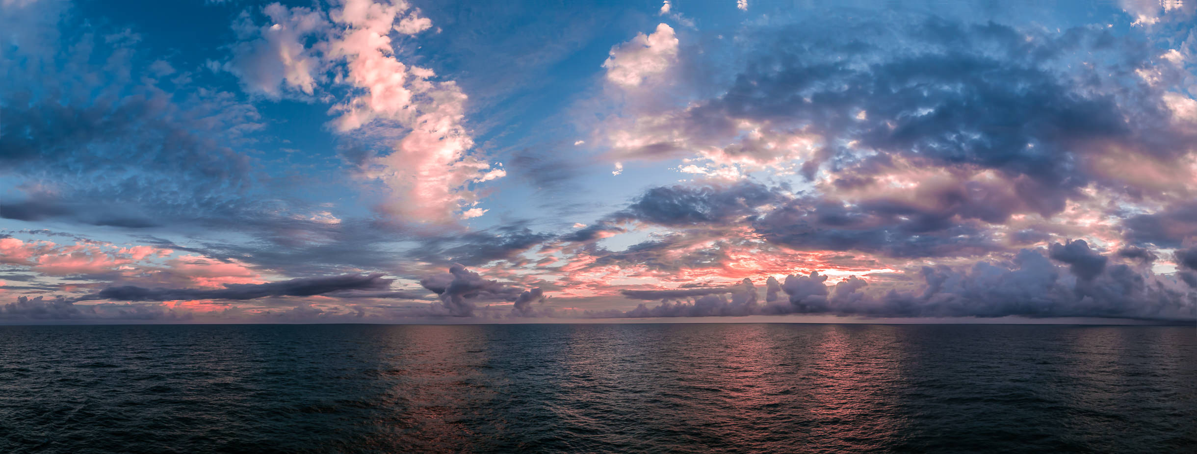 The first light of morning breaks over the Gulf of Mexico, somewhere north of the Yucatan Peninsula, Mexico.