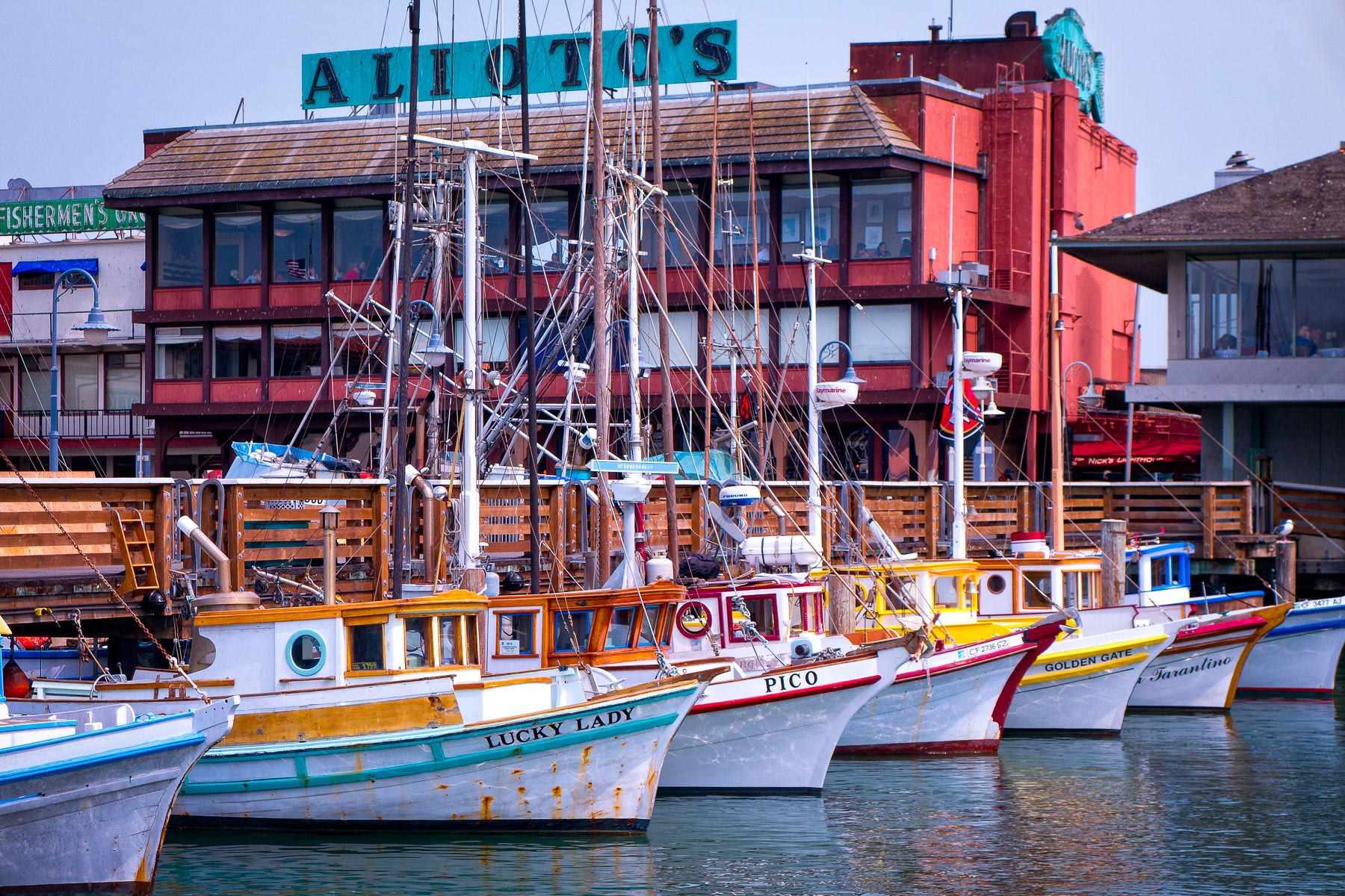 A fleet of multicolored boats docked at San Francisco's Fisherman's Wharf.