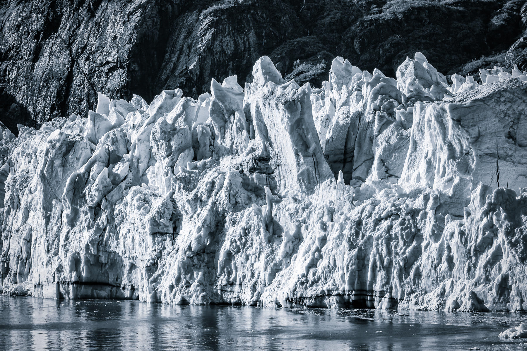Detail of a jagged glacier at Glacier Bay National Park, Alaska.
