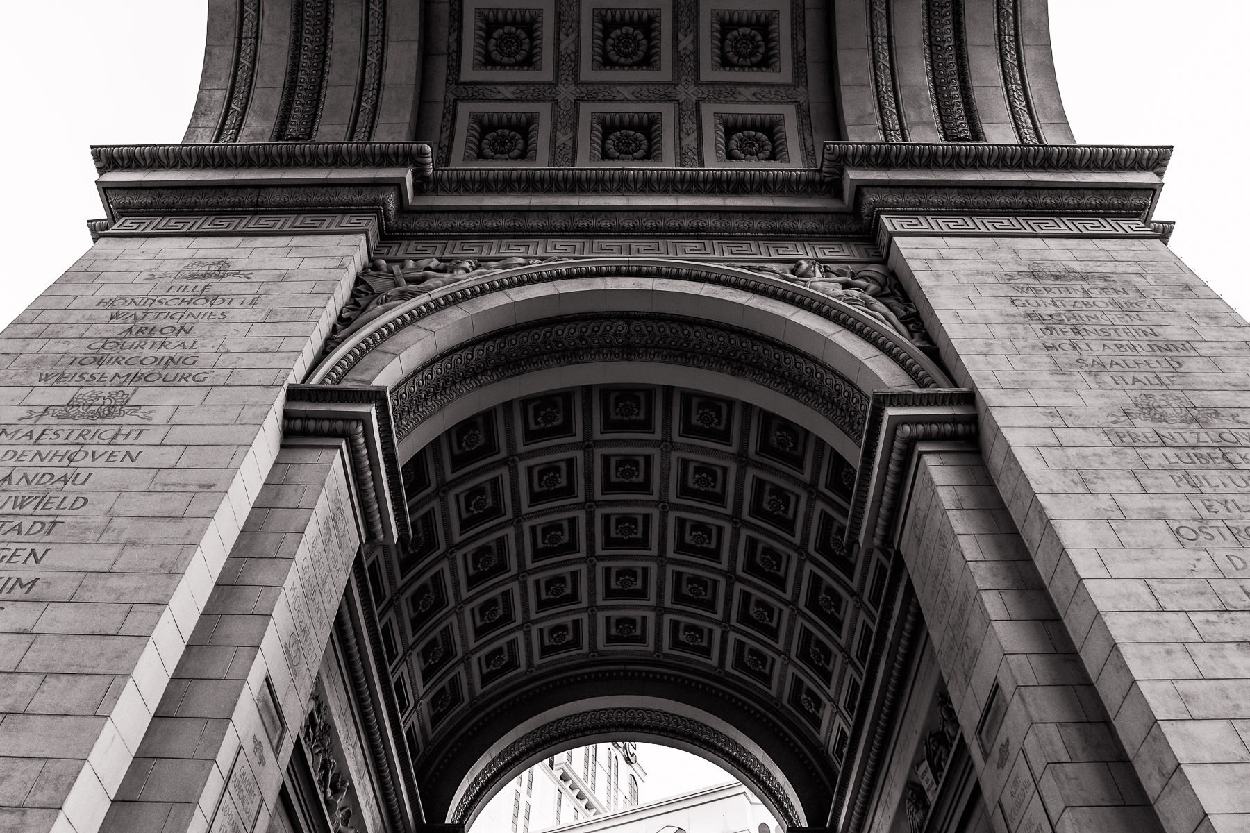 Architectural detail of the replica Arc de Triomphe at Paris Las Vegas.