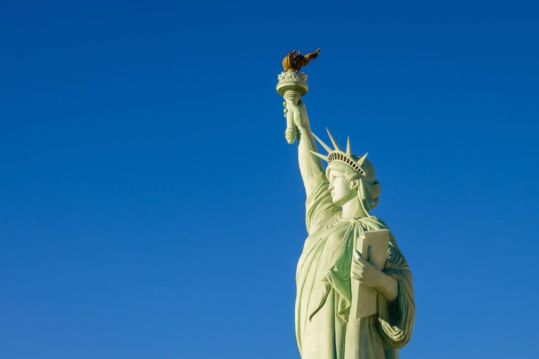 The replica Statue of Liberty at Las Vegas' New York New York Hotel & Casino.