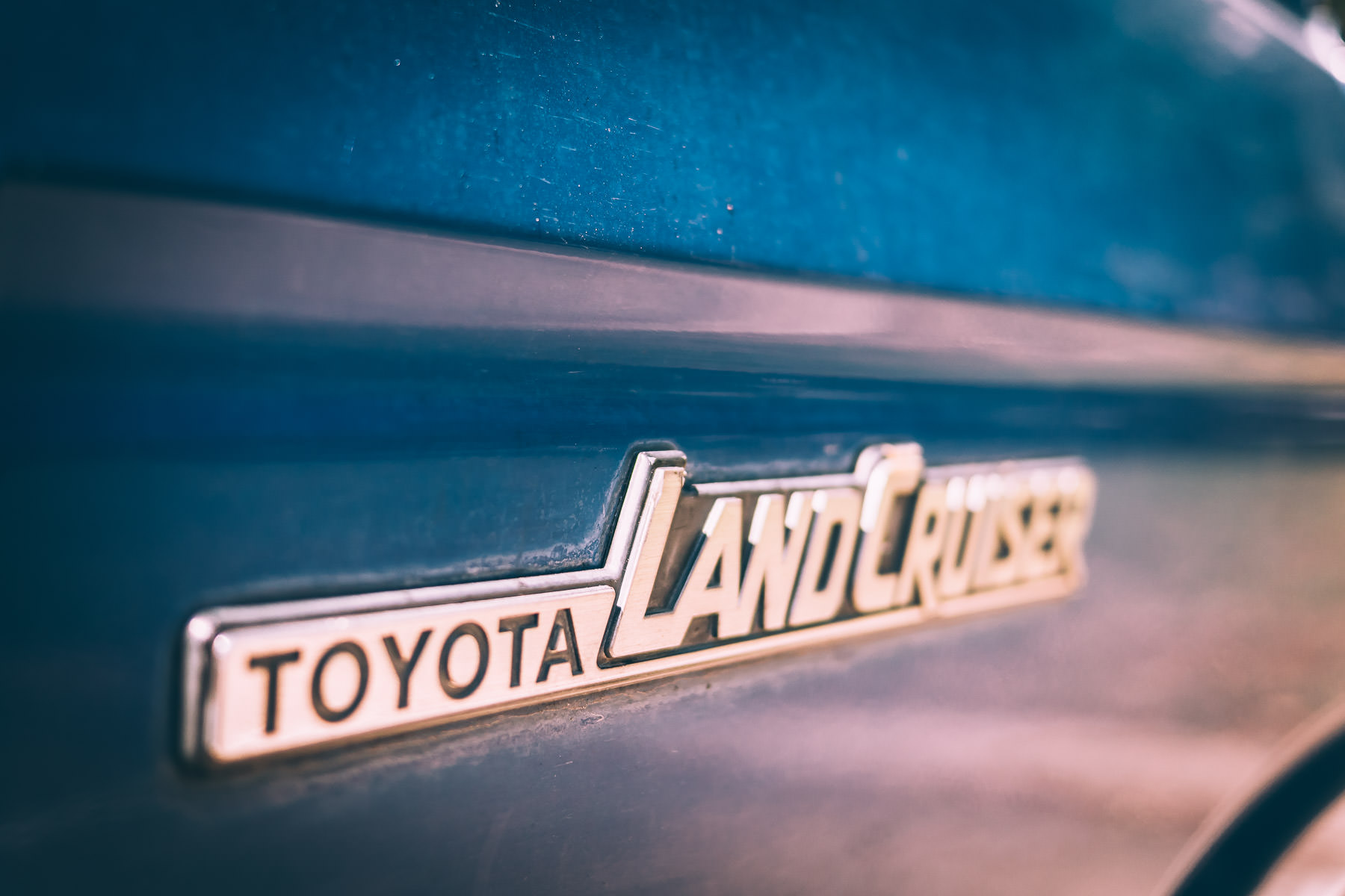 The nameplate on an old Toyota Land Cruiser, spotted in an Addison, Texas, parking lot.