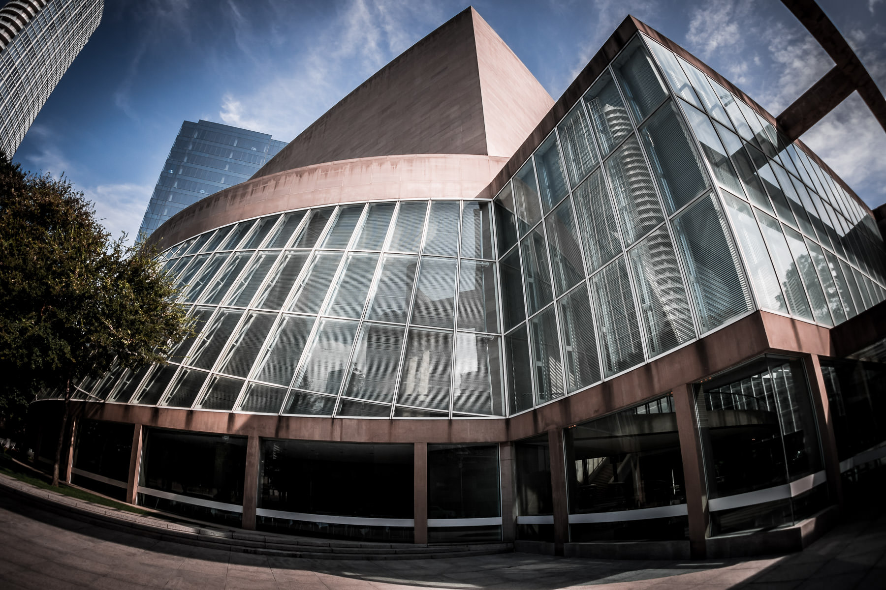 The unique architecture of I.M. Pei-designed Meyerson Symphony Center in the Dallas Arts District.