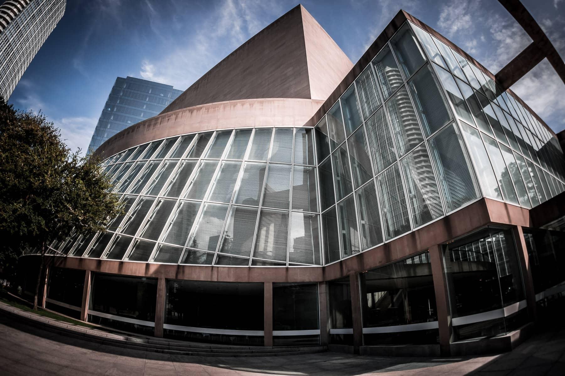 The unique architecture of I.M. Pei-designed Meyerson Symphony Center in the Dallas Arts District.
