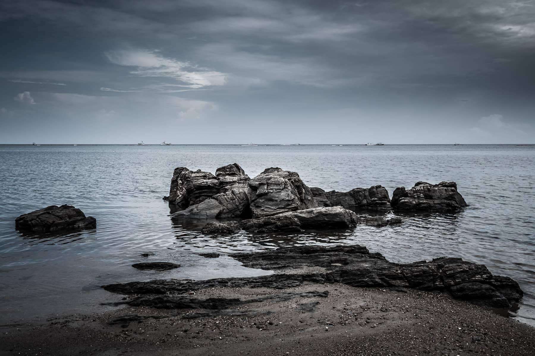 Rocks on the beach at Roatan, Honduras.