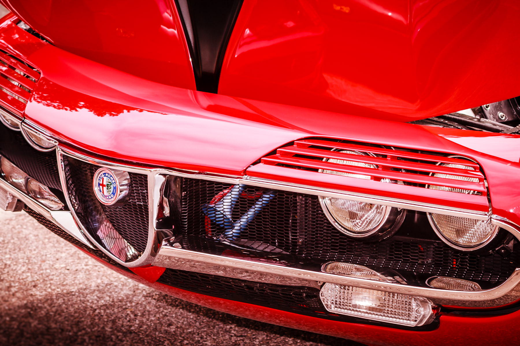 Detail of a classic Alfa Romeo Montreal, spotted at Dallas' All British and European Car Day.