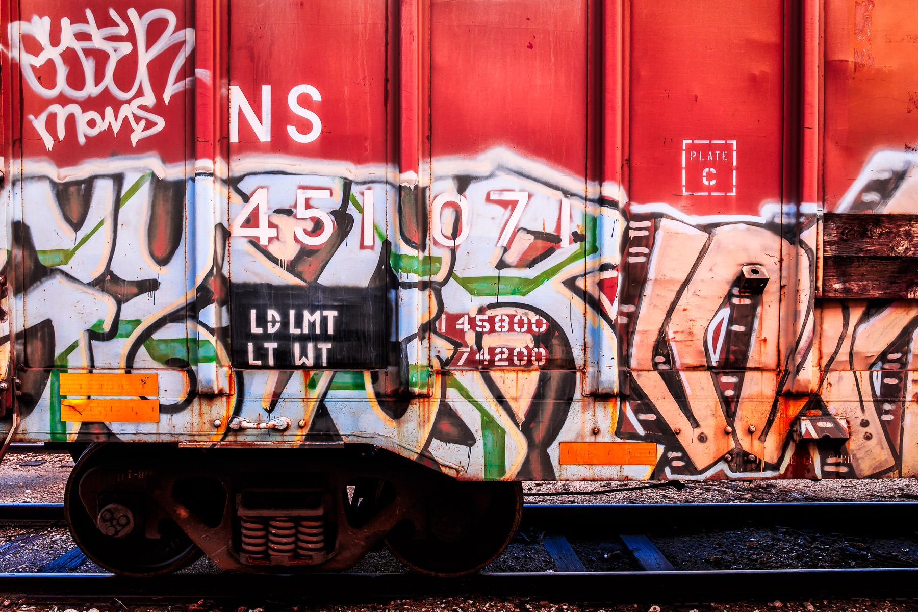 Graffiti on a railcar, spotted in Galveston, Texas.