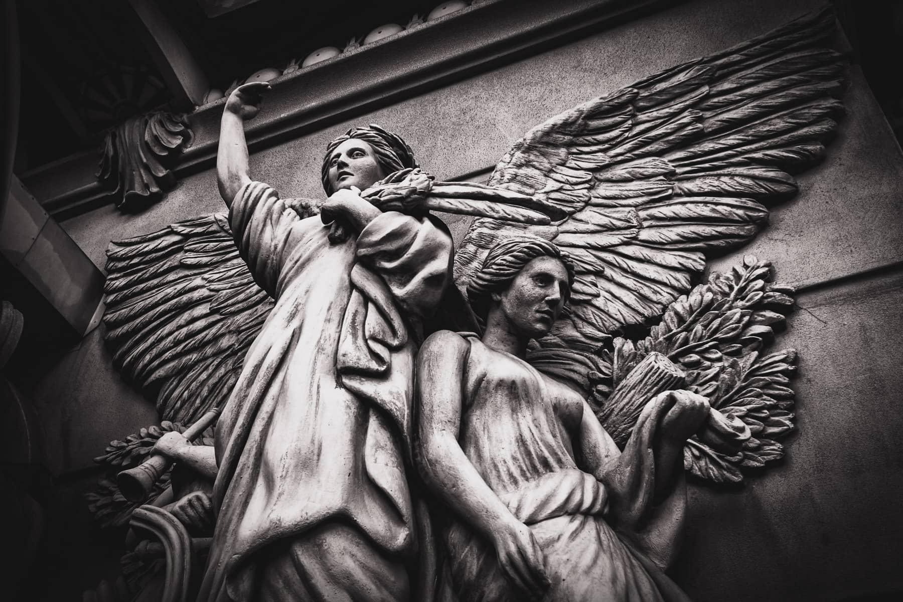Carved angels decorate the exterior of Paris Las Vegas.