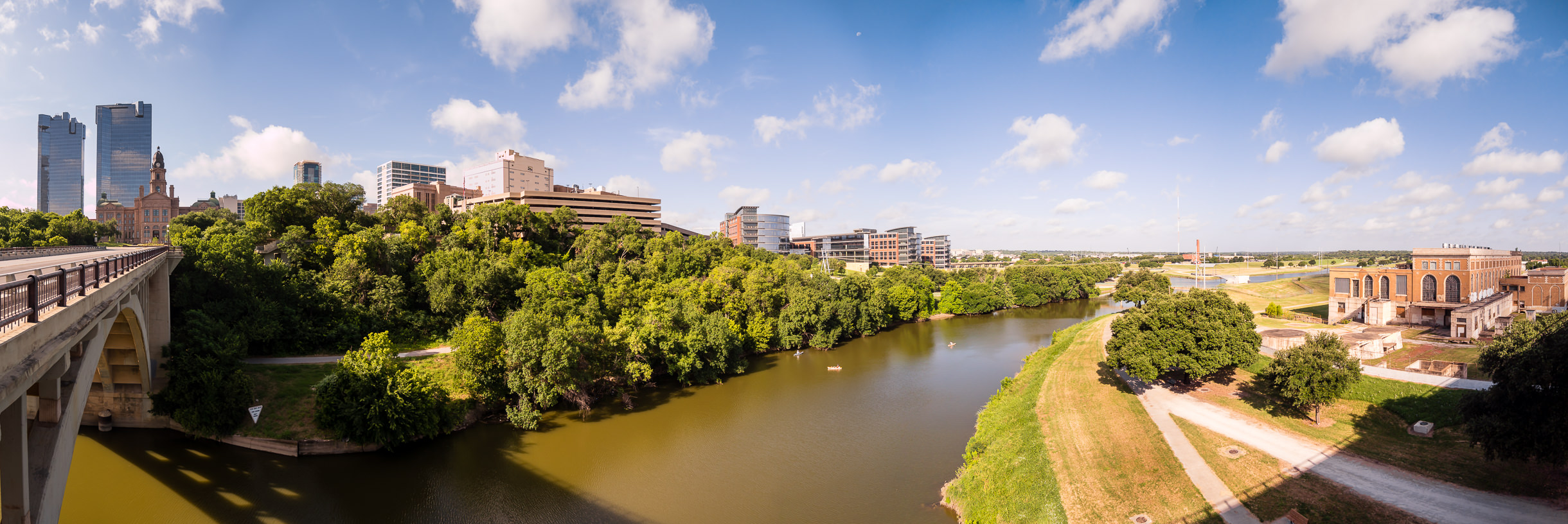 The Trinity River courses south of Downtown Fort Worth, Texas.