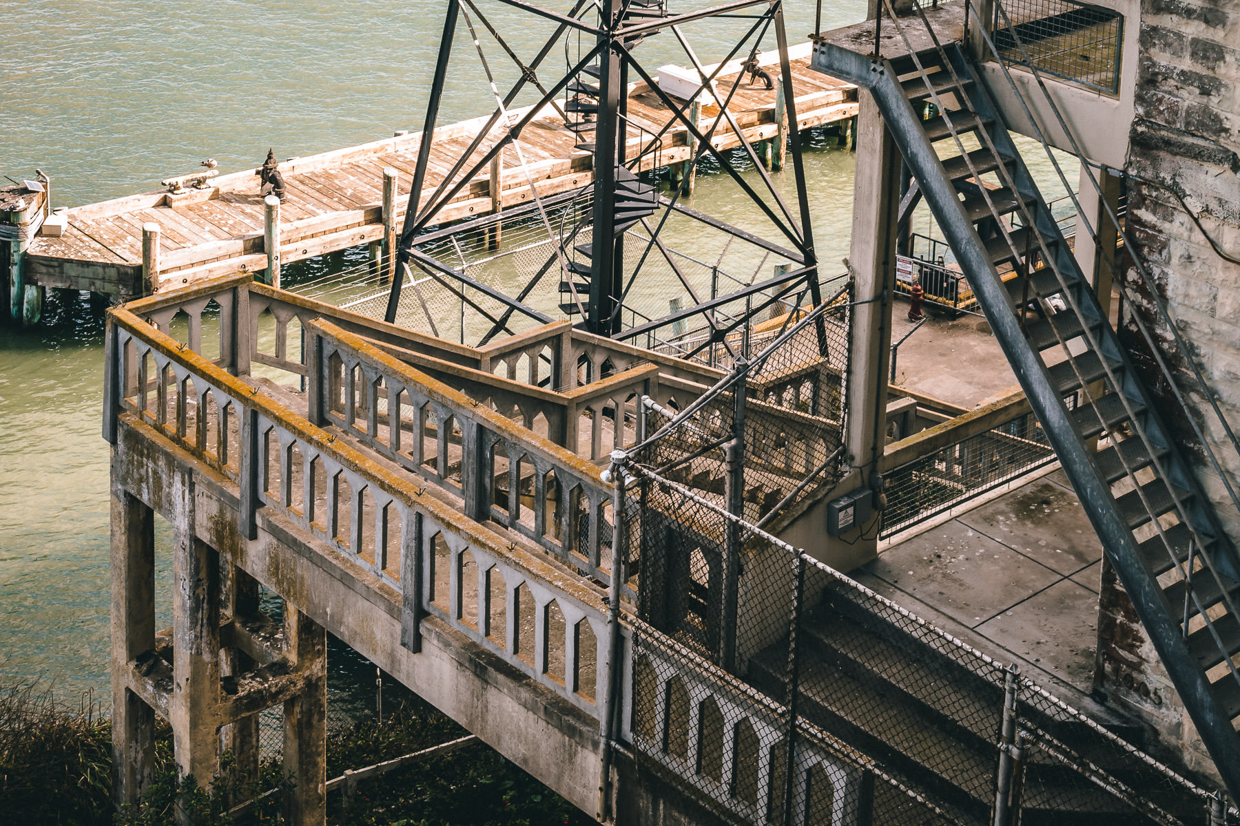 A conglomeration of stairways at Alcatraz Federal Penitentiary, San Francisco.