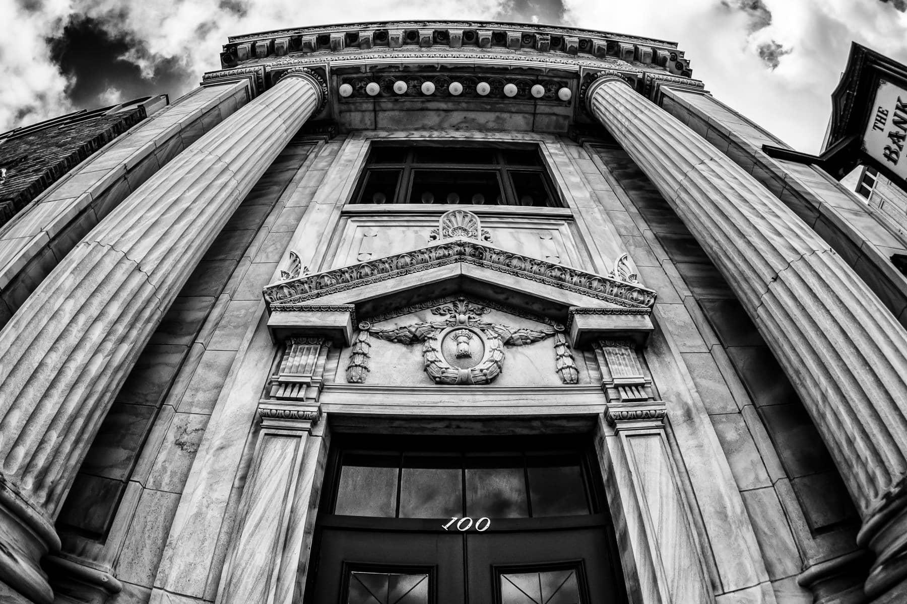 The facade of the 1913Denton County National Bank Building rises into the sky over the Denton, Texas, downtown.