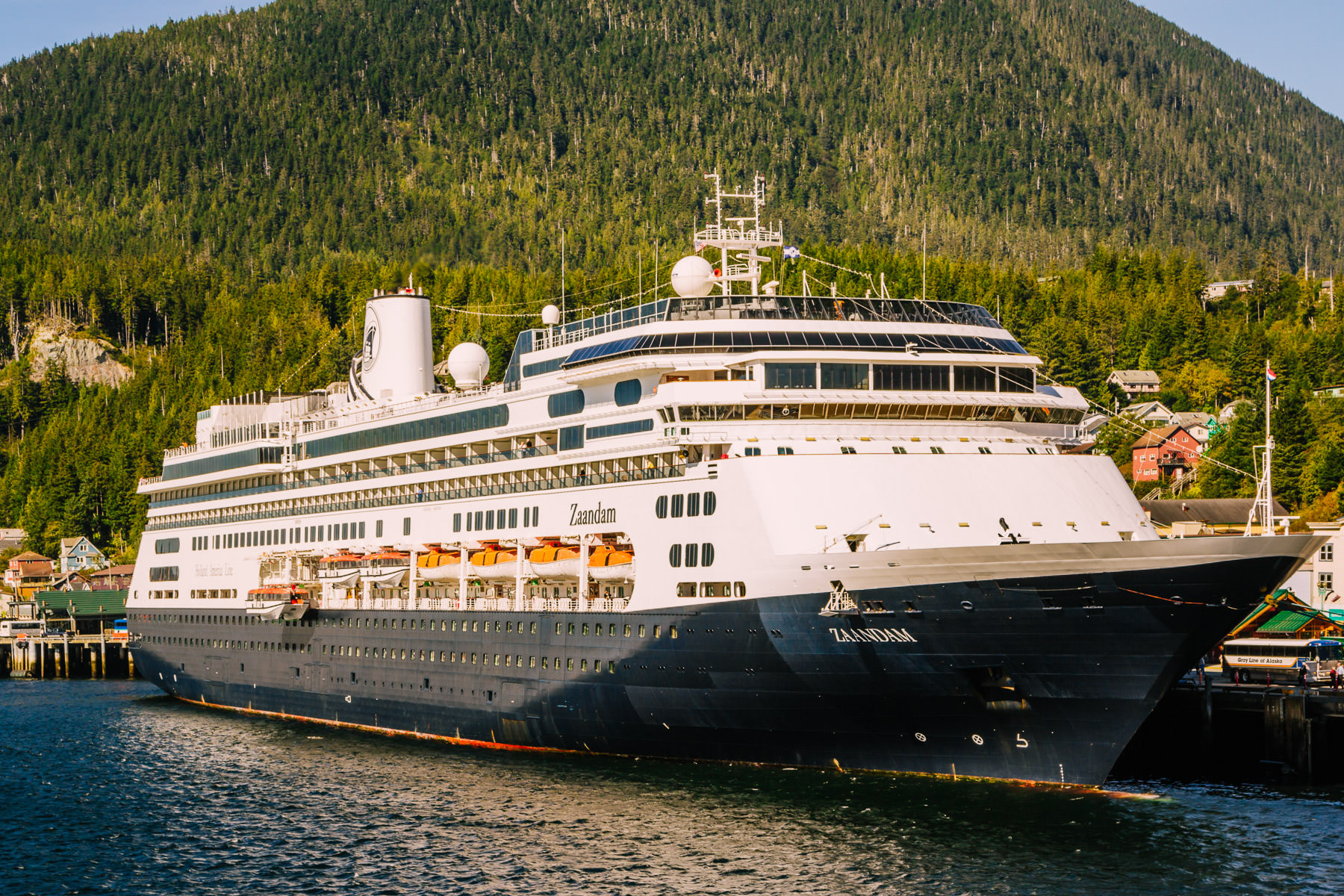 The Holland America Line cruise ship MS Zaandam docked at the cruise ship pier at Ketchikan, Alaska.
