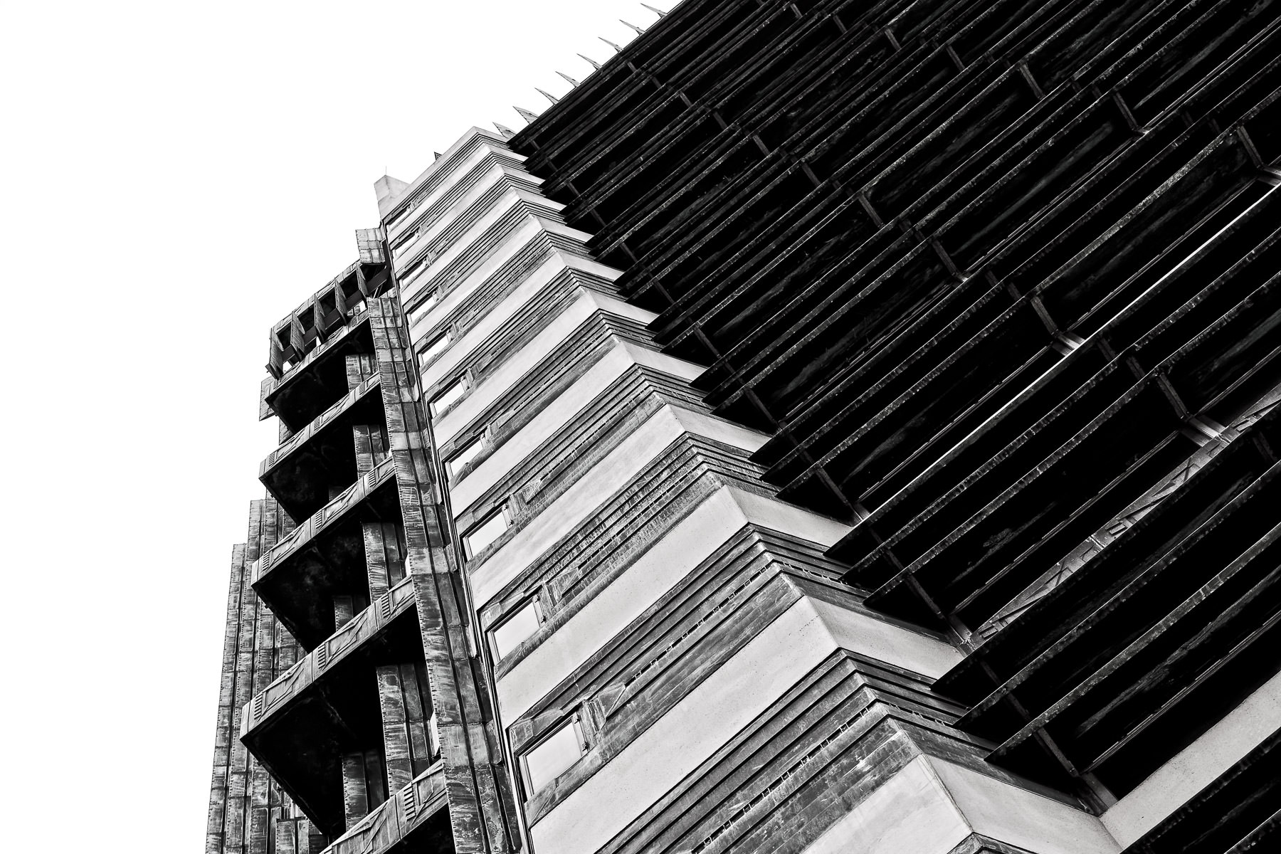 Exterior architectural detail of the Frank Lloyd Wright-designed Price Tower in Bartlesville, Oklahoma.