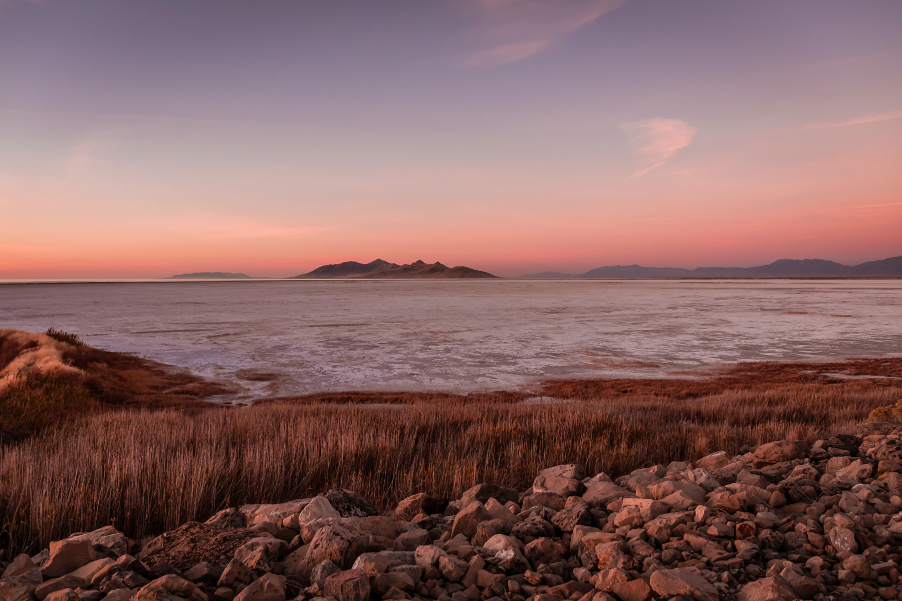 The sun sets on Utah's Great Salt Lake.