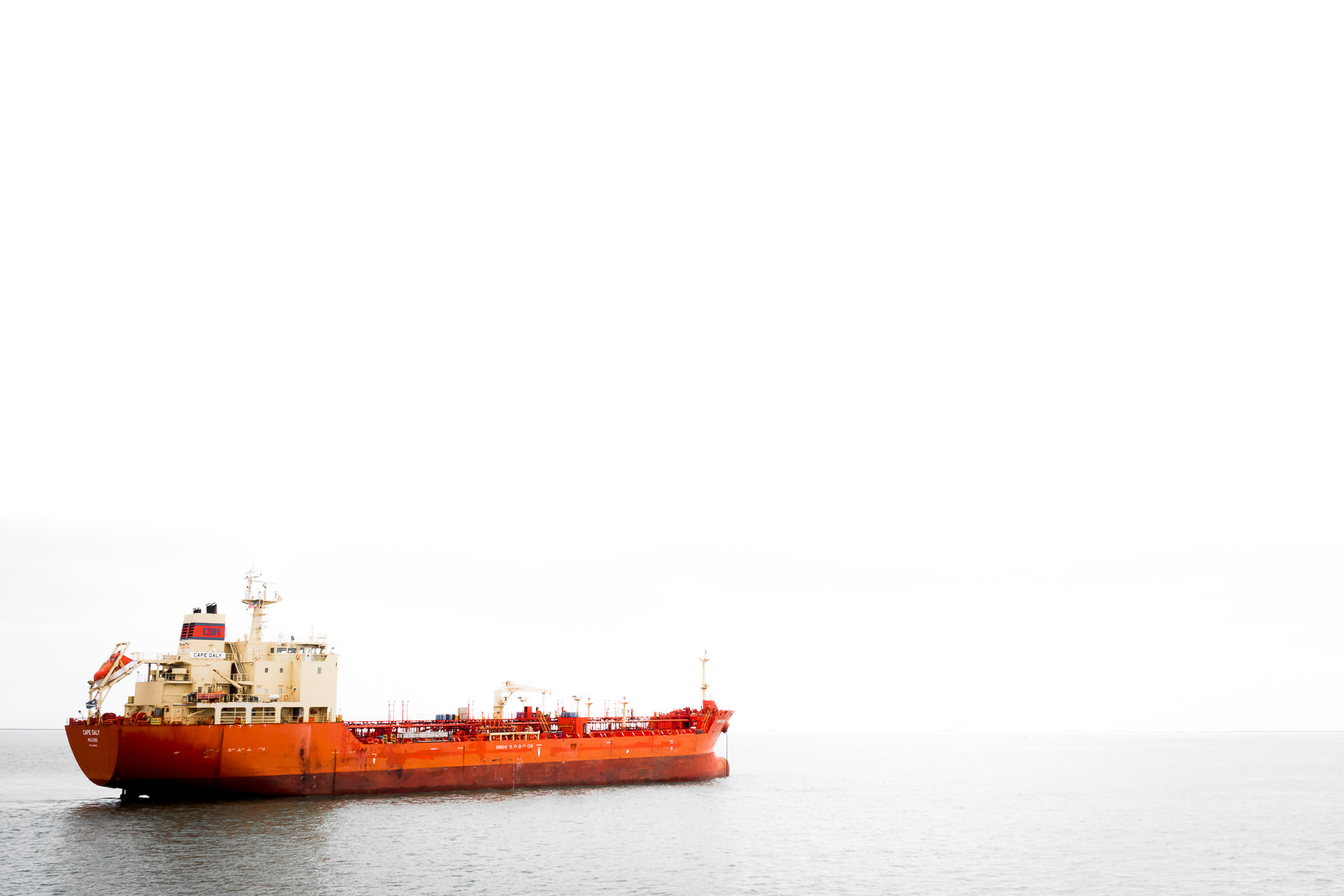 The chemical tanker Cape Daly, anchored at Bolivar Roads off the coast of Galveston, Texas.