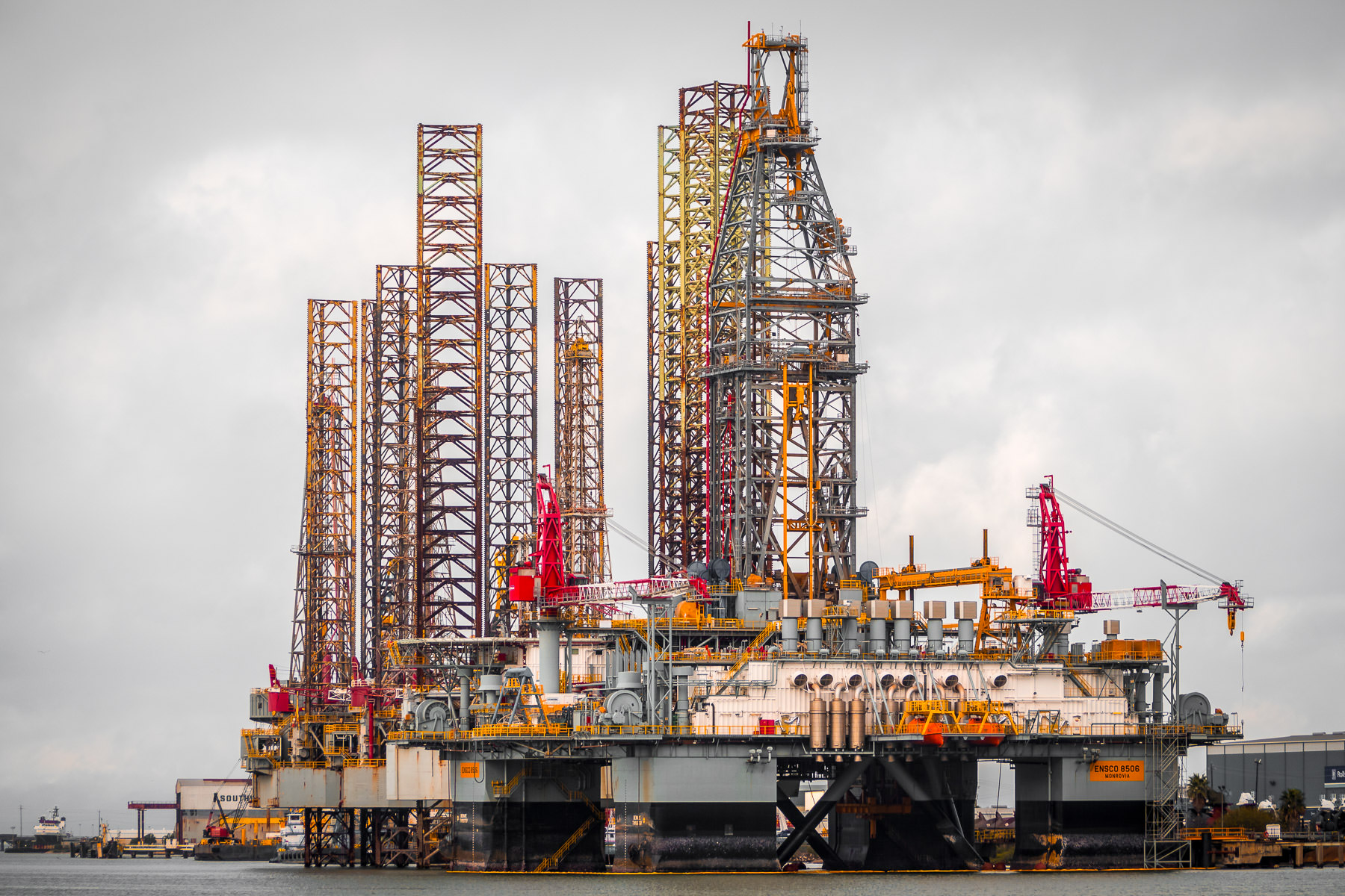 Offshore oil platforms, docked a Pelican Island, Galveston, Texas, on a cold, overcast winter day.