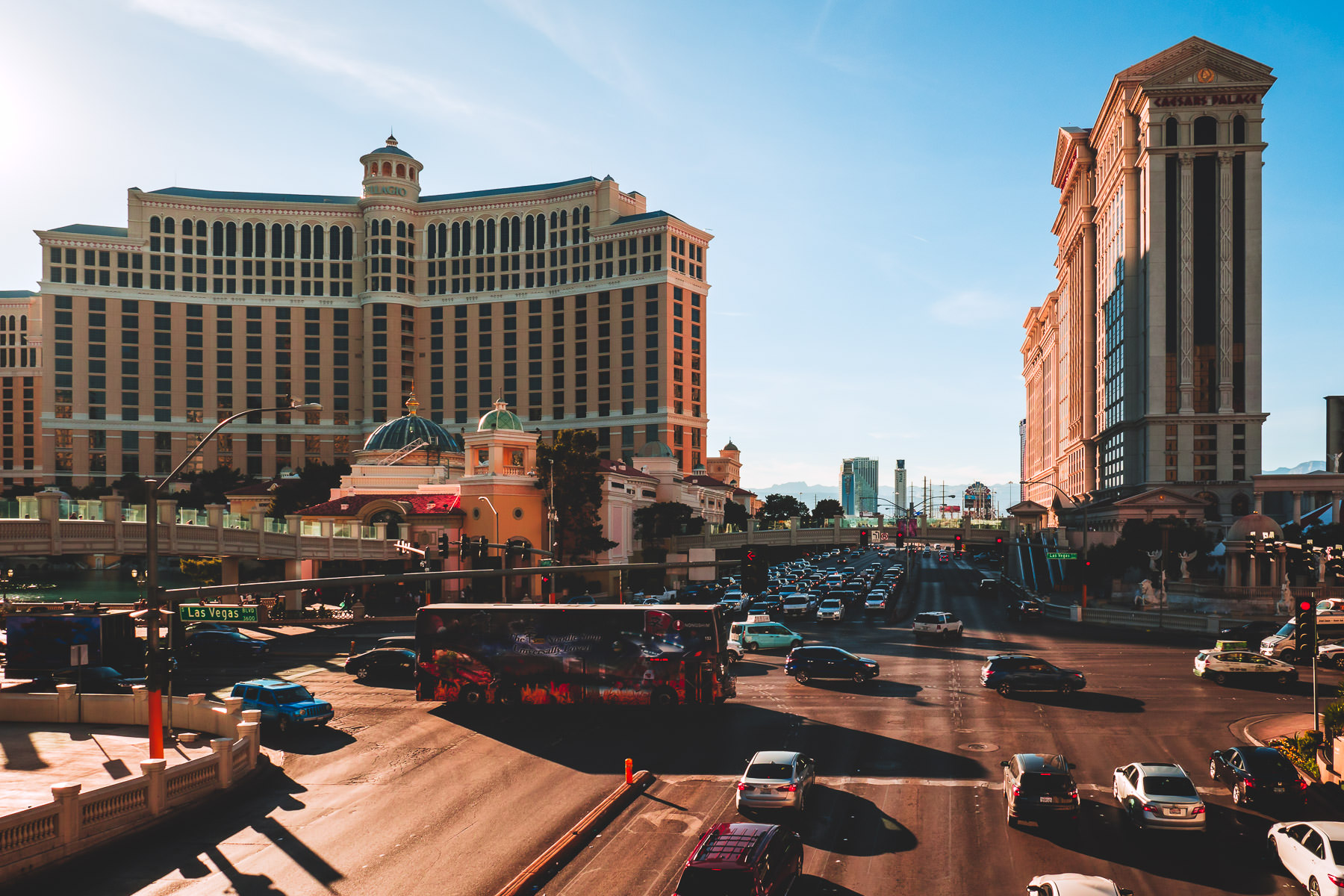 Traffic at the intersection of Flamingo Road and the Las Vegas Strip (Las Vegas Boulevard).
