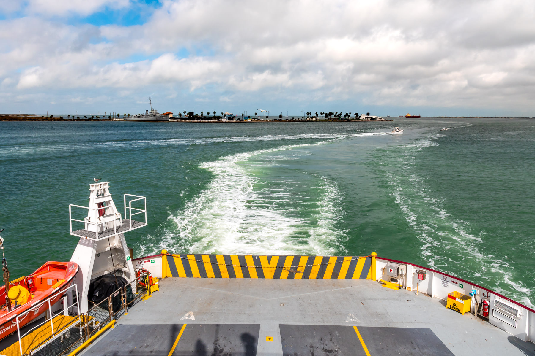 The Galveston-Port Bolivar ferry—a segment of Texas State Highway 87—prepares to dock at the Galveston end of its route.