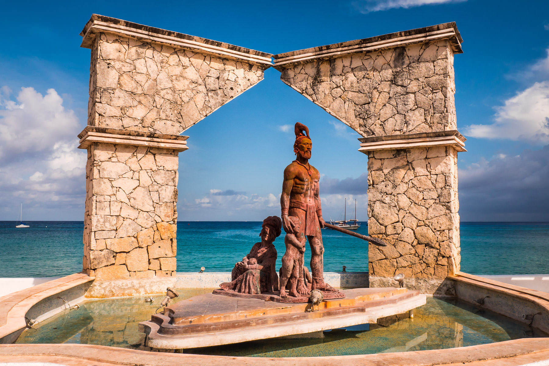 This monument to Gonzalo Guerrero—father of the mestizo people—sits on the malecón in Cozumel, Mexico.