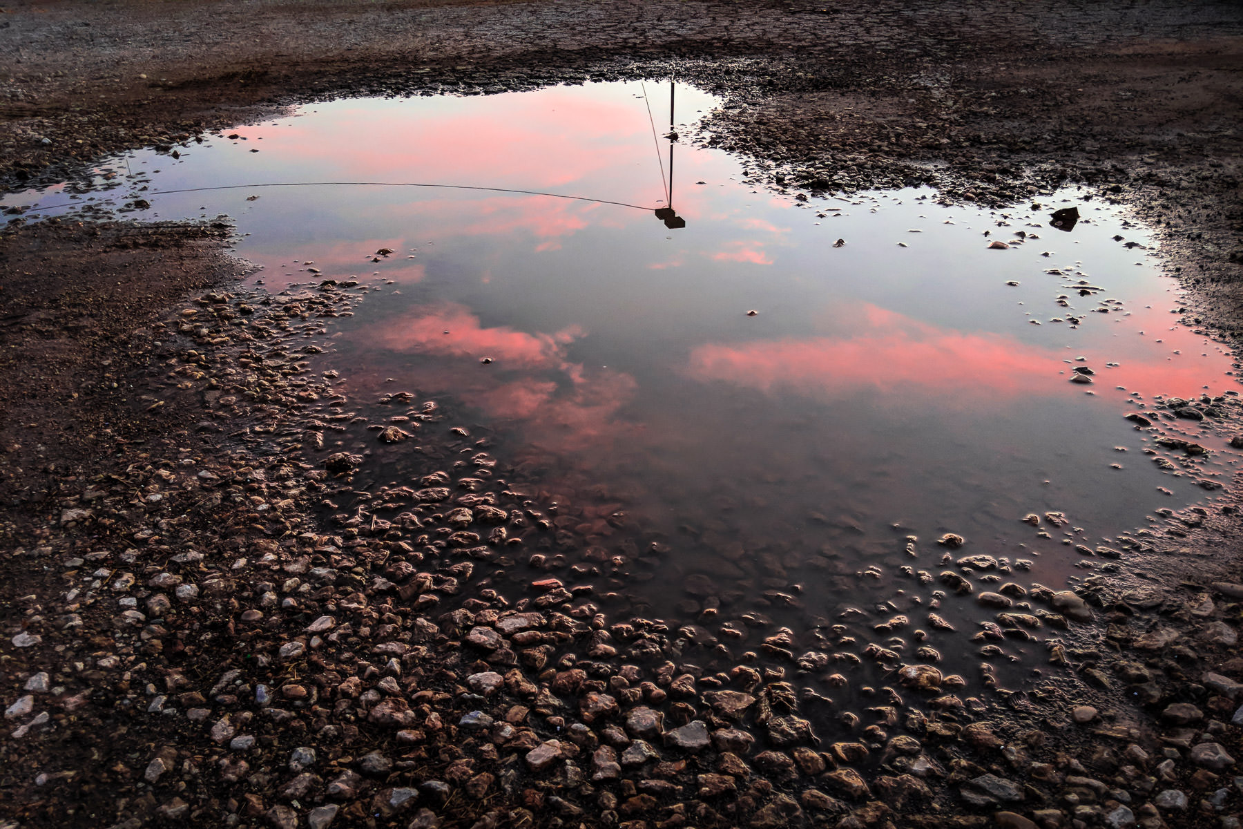 Evening clouds and a nearby light pole are reflected in a puddle in a parking lot in Downtown Dallas.