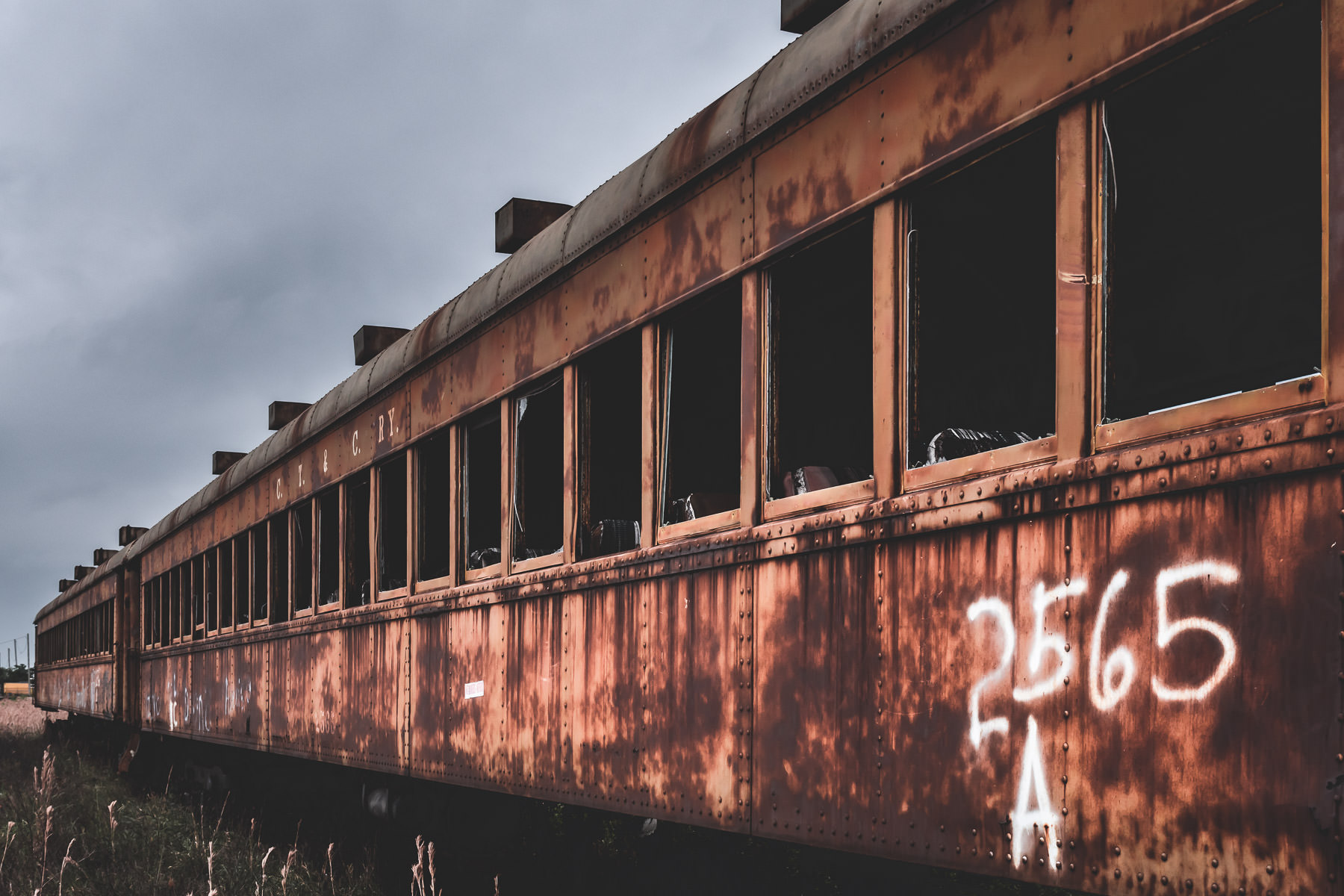 An abandoned railcar sits rotting in the Union Pacific rail yard at Galveston, Texas.