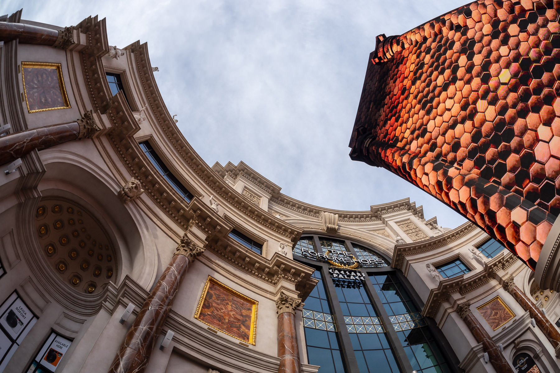 The sign and facade of the Forum Shops at Caesars Palace, Las Vegas.