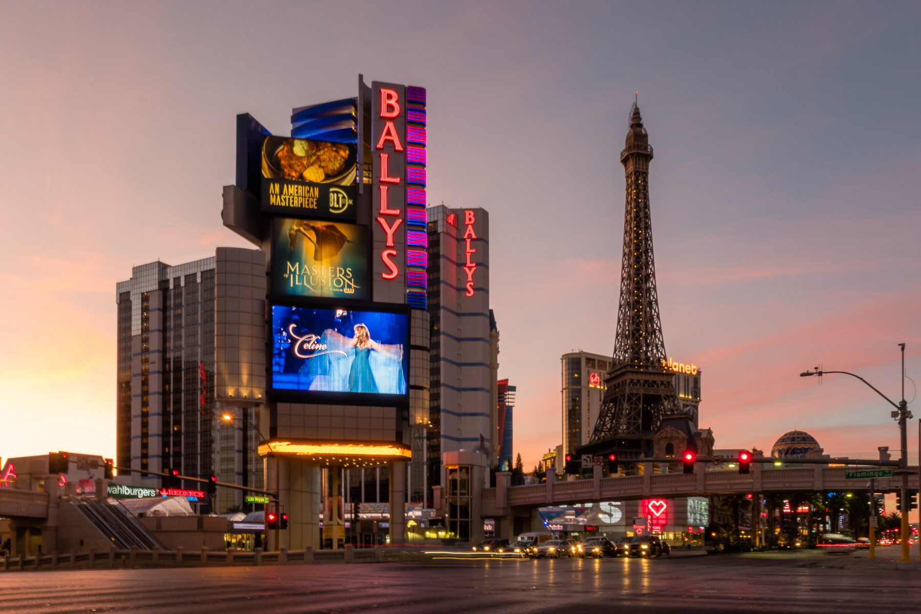 The sun rises on Ballys, Paris Las Vegas, Planet Hollywood and the rest of the Las Vegas Strip.
