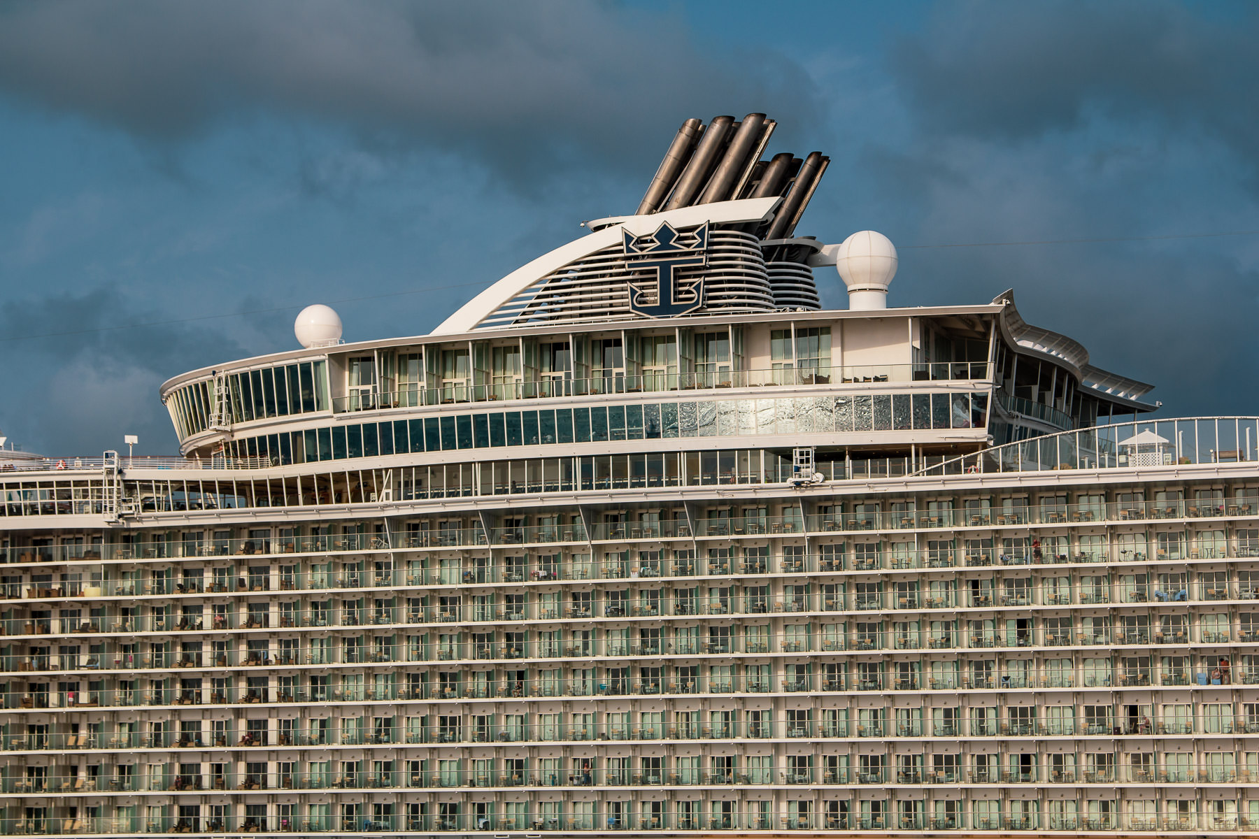 Detail of the cruise ship Allure of the Seas, spotted while docked in Cozumel, Mexico.